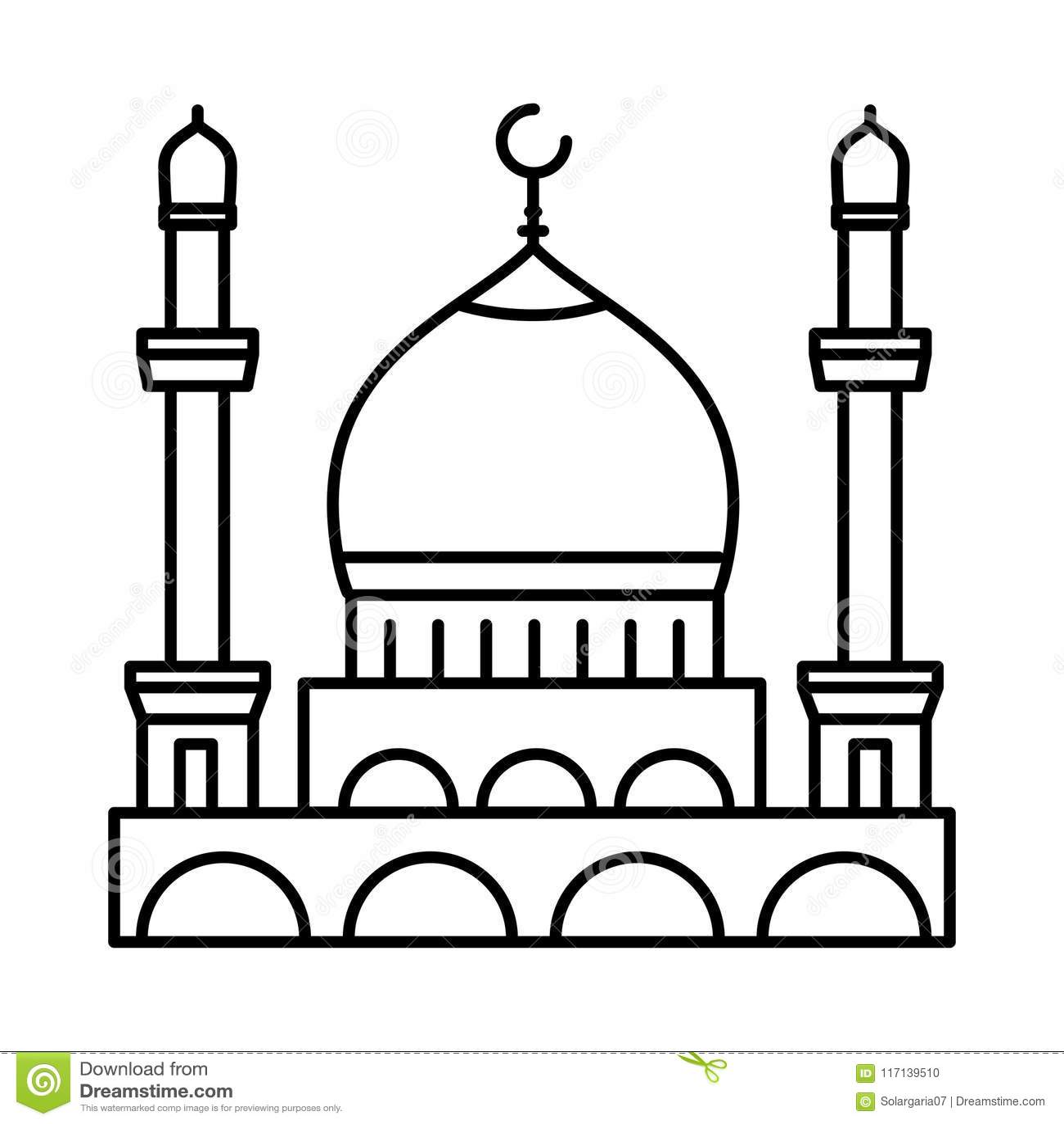 Mosque Line Icon - Vector Iconic Stock Vector ...