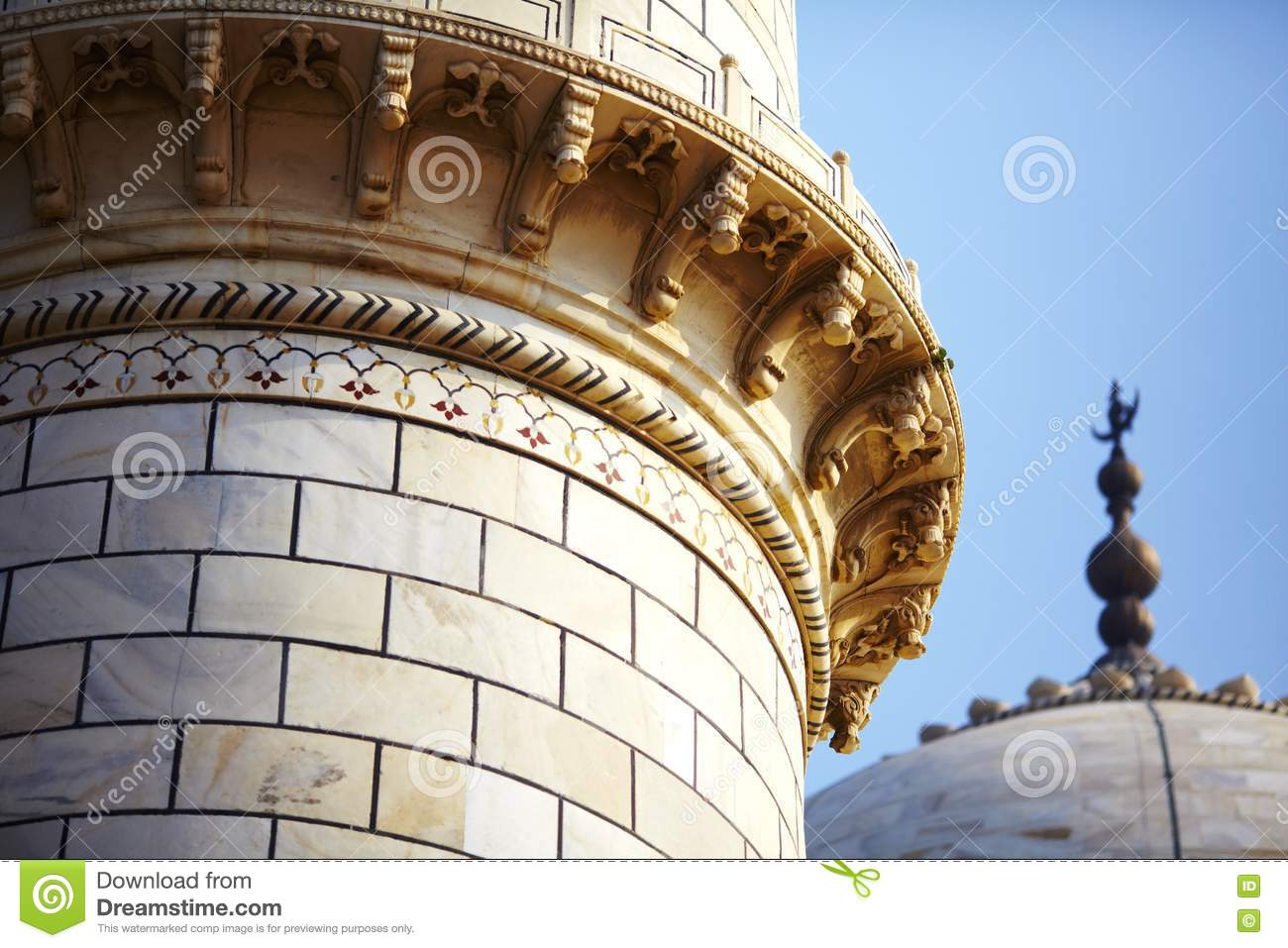 What Is A Mosque Detail: Mosque Minaret And Dome Detail Of Taj Mahal Royalty Free