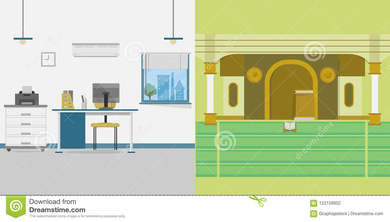 Mosque And Office Background Stock Vector Illustration Of Table