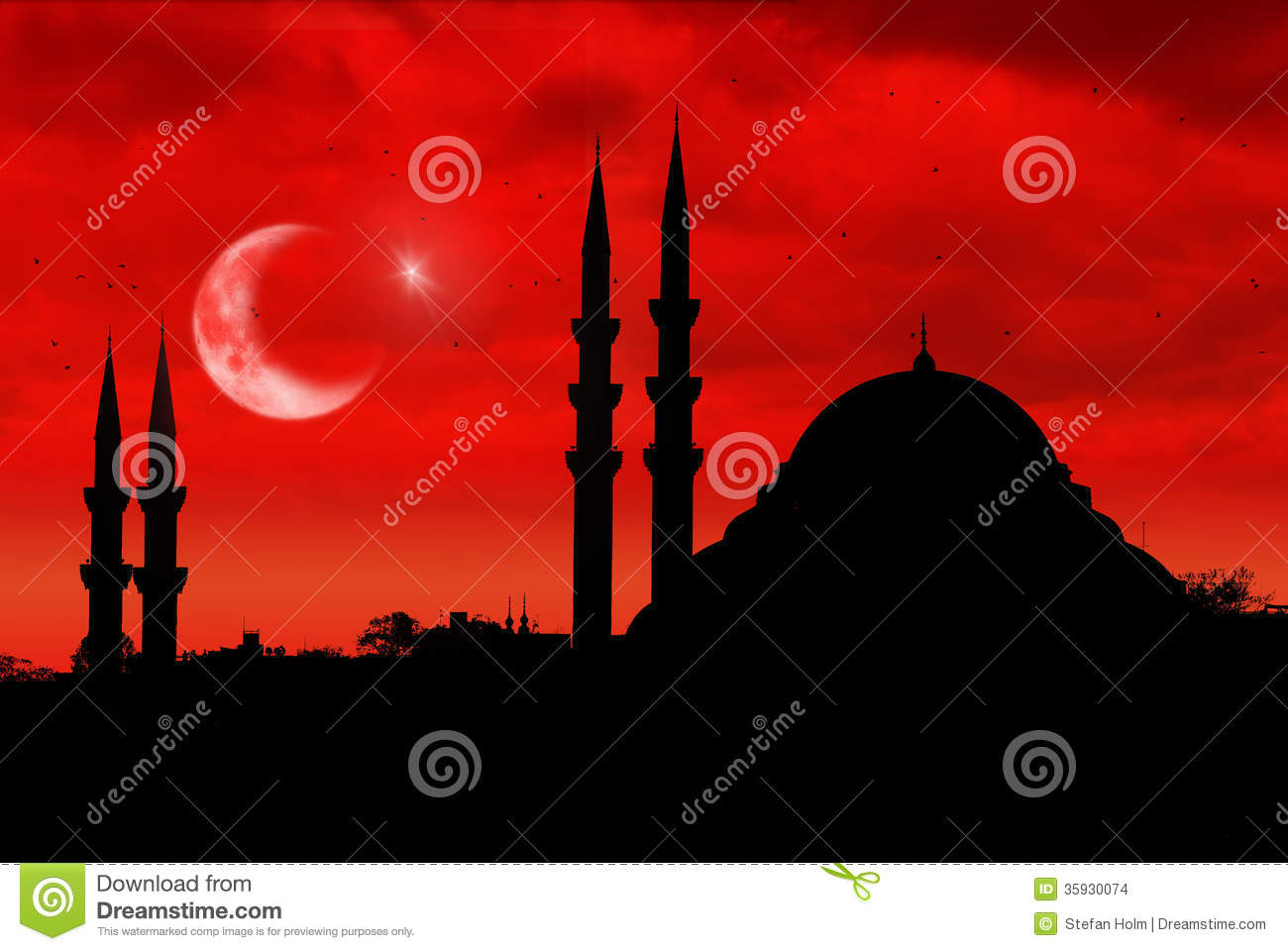 mosque silhouette as the turkish flag during sunset stock