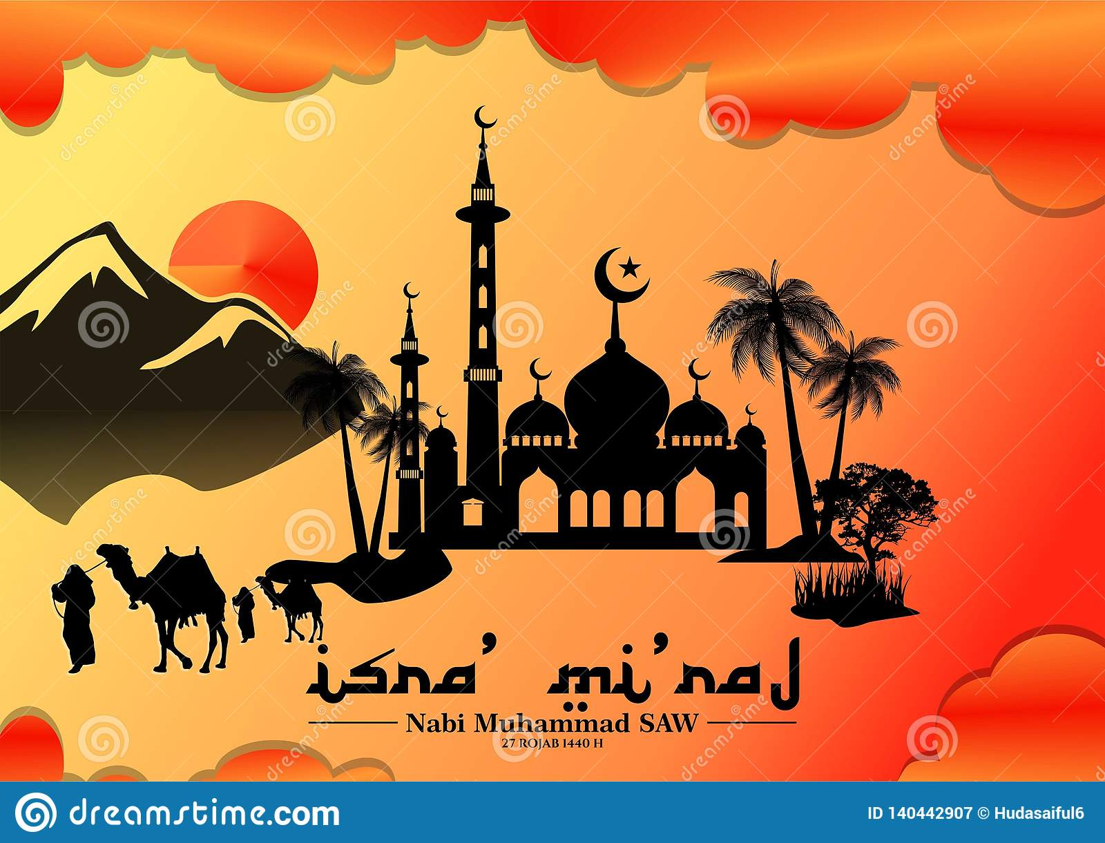 Isra Miraj Background With Mosque Stock Vector Illustration Of