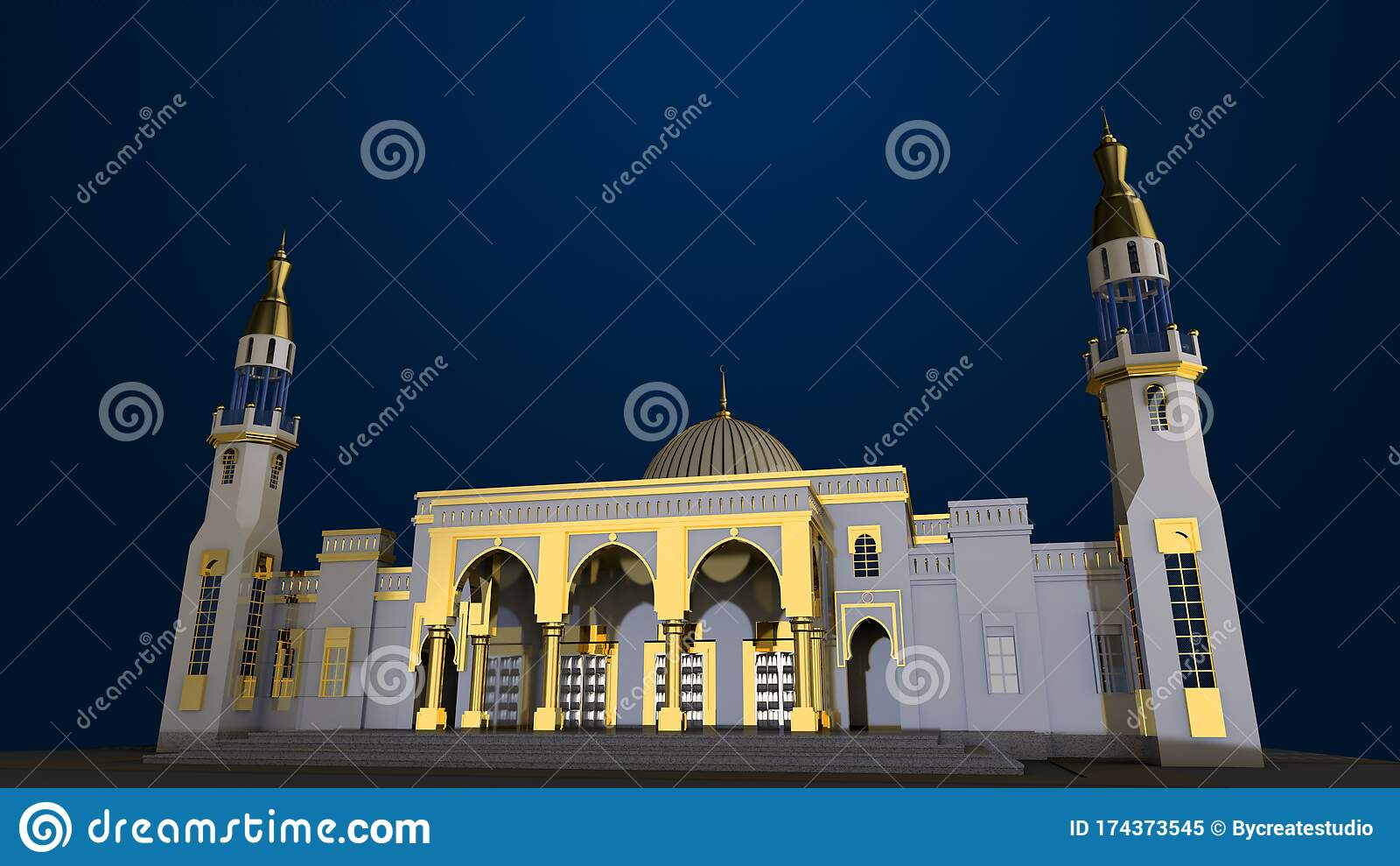 mosque wallpaper d rendering front view islamic backround gold blue materials dark 174373545
