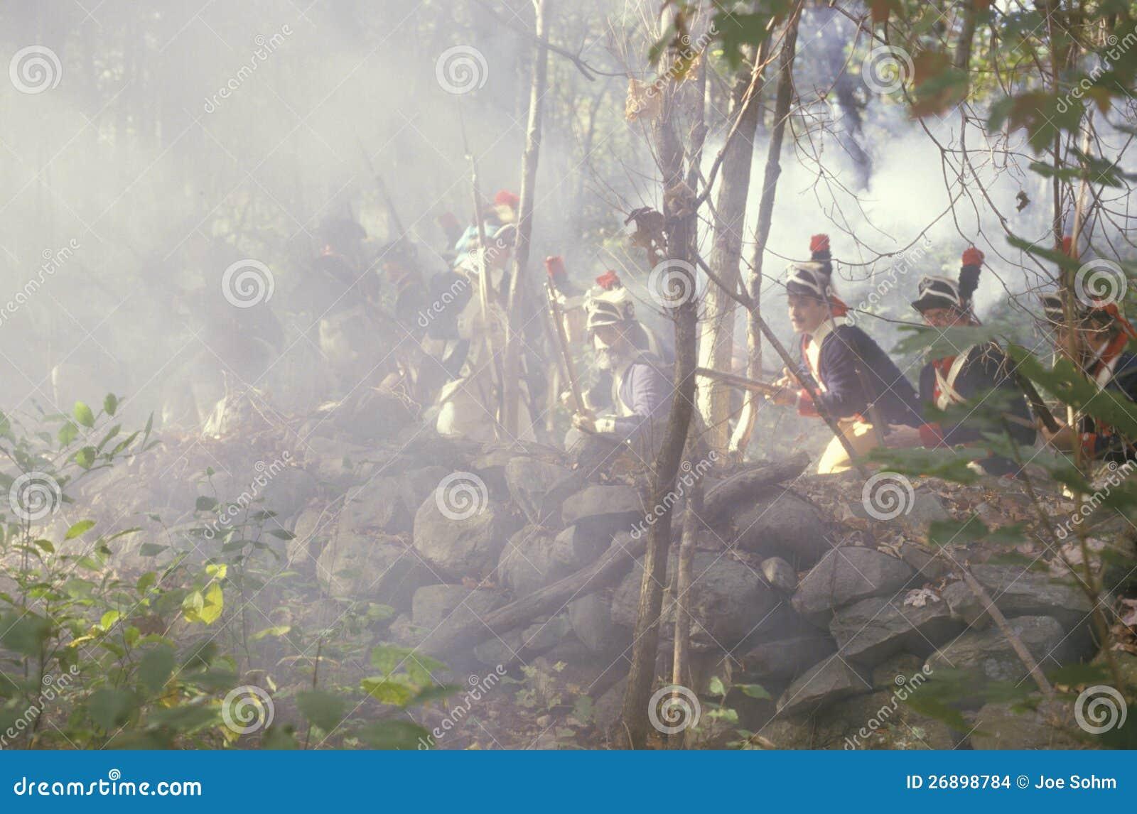 Mosquetes americanos del fuego de los soldados