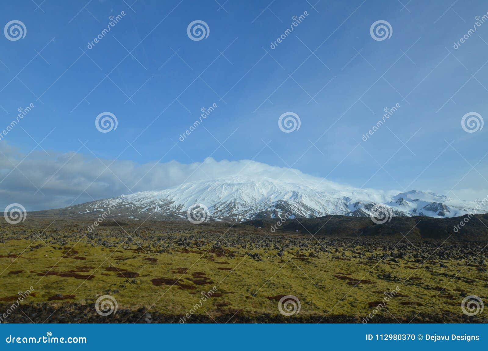 Moss Covered Lava Field In Front of Snaefellsjokull Glacier