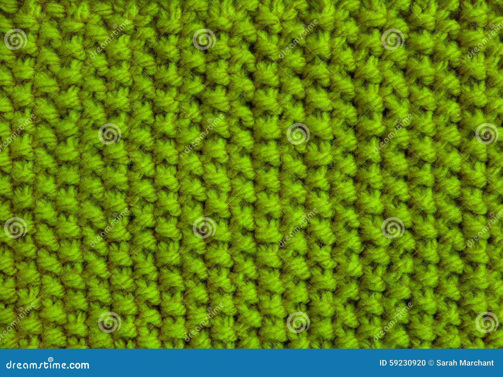 Moss Stitch Knitting In Green Wool Stock Photo - Image of