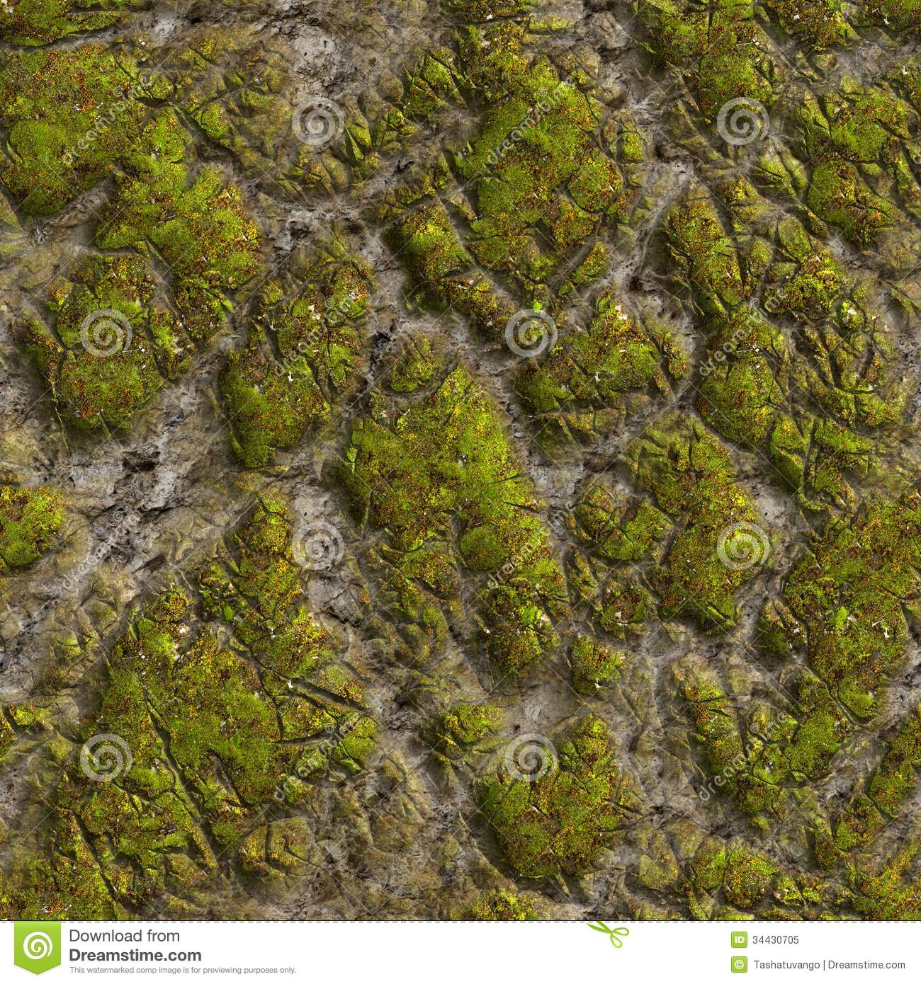 Mossy Stone. Seamless Tileable Texture. Stock Image