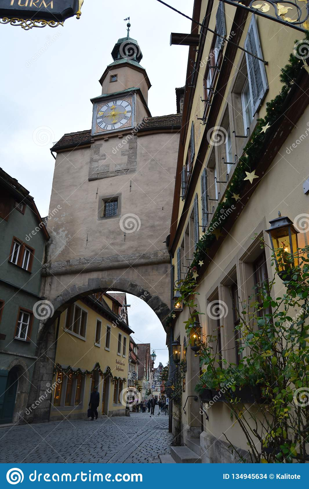 Clock Tower, Rothenburg ob der Tauber, Germany, at Christmas