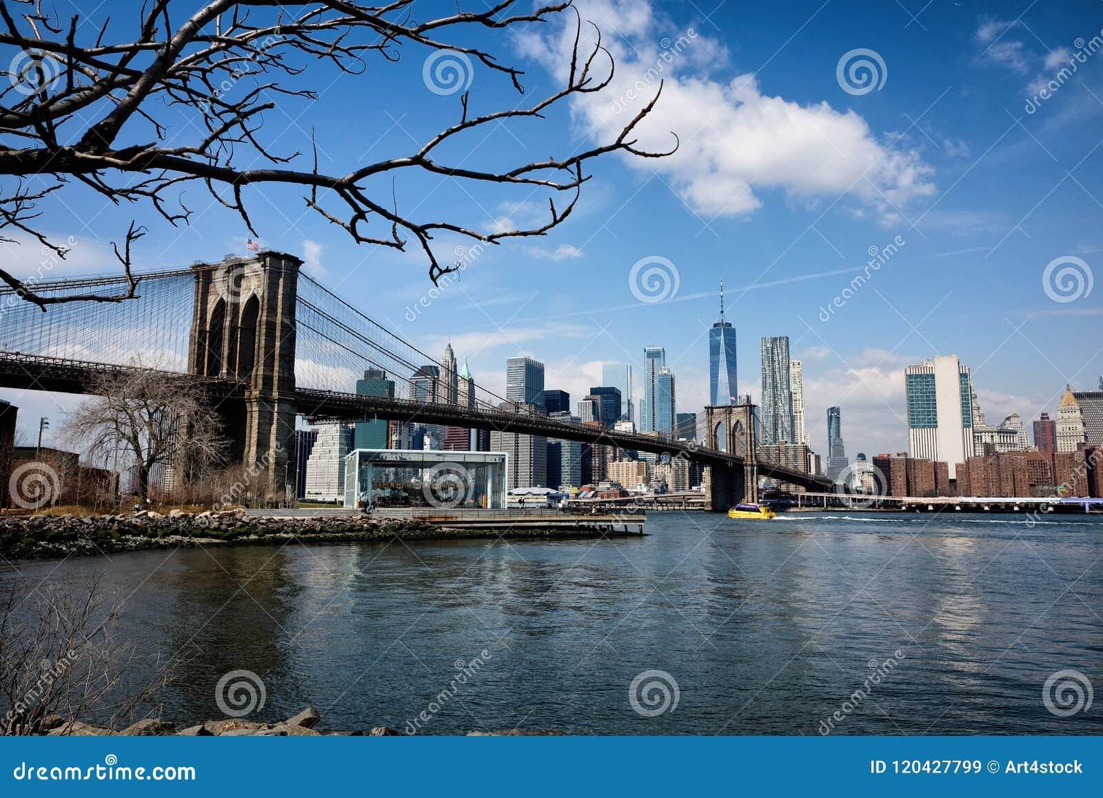 Most Brooklyński panorama w Miasto Nowy Jork