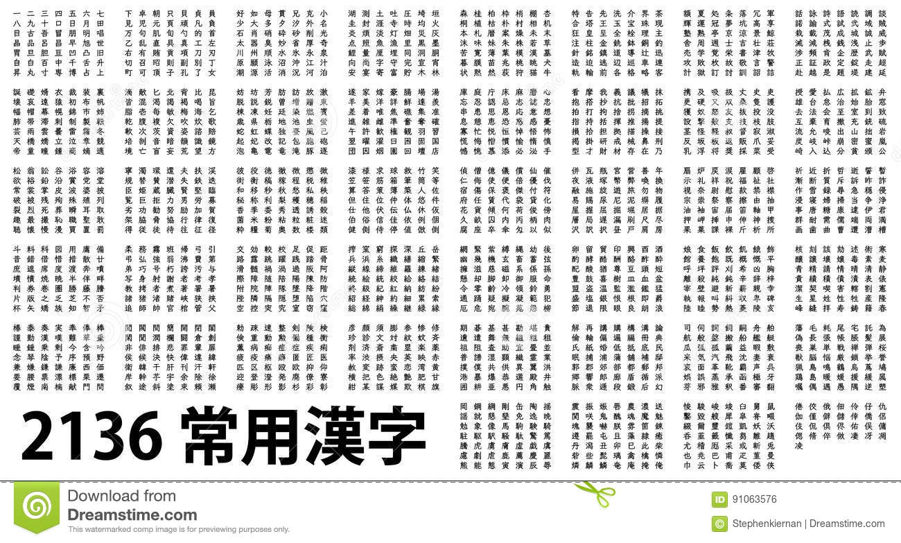 2136 of the most common Kanji in black and white