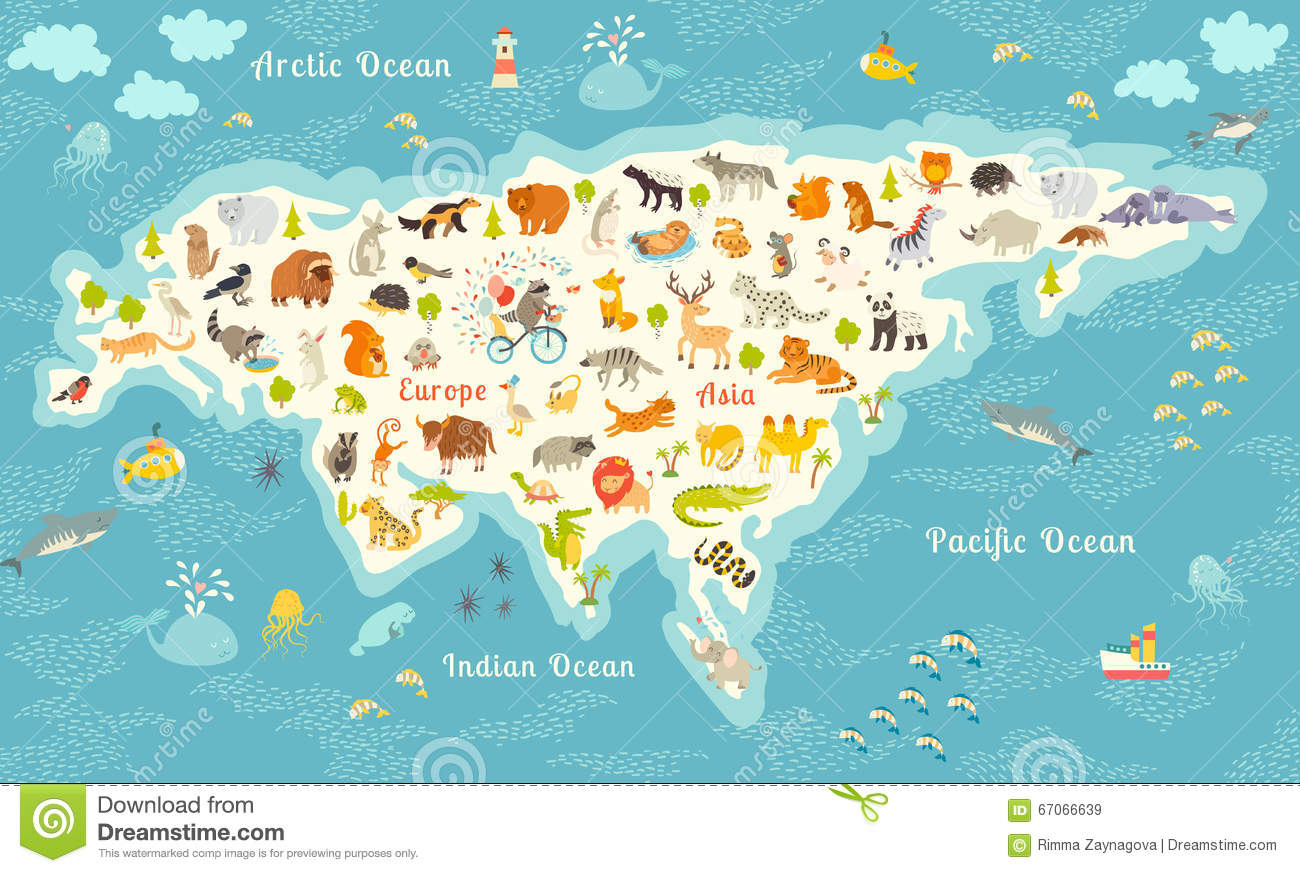 Most Detailed World Map.The Most Detailed Animals World Map Eurasia Also Birds Ocean