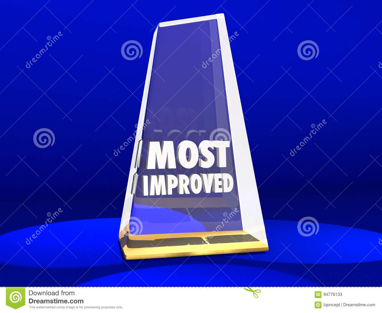 most improved award honor improvement 3d illustration stock
