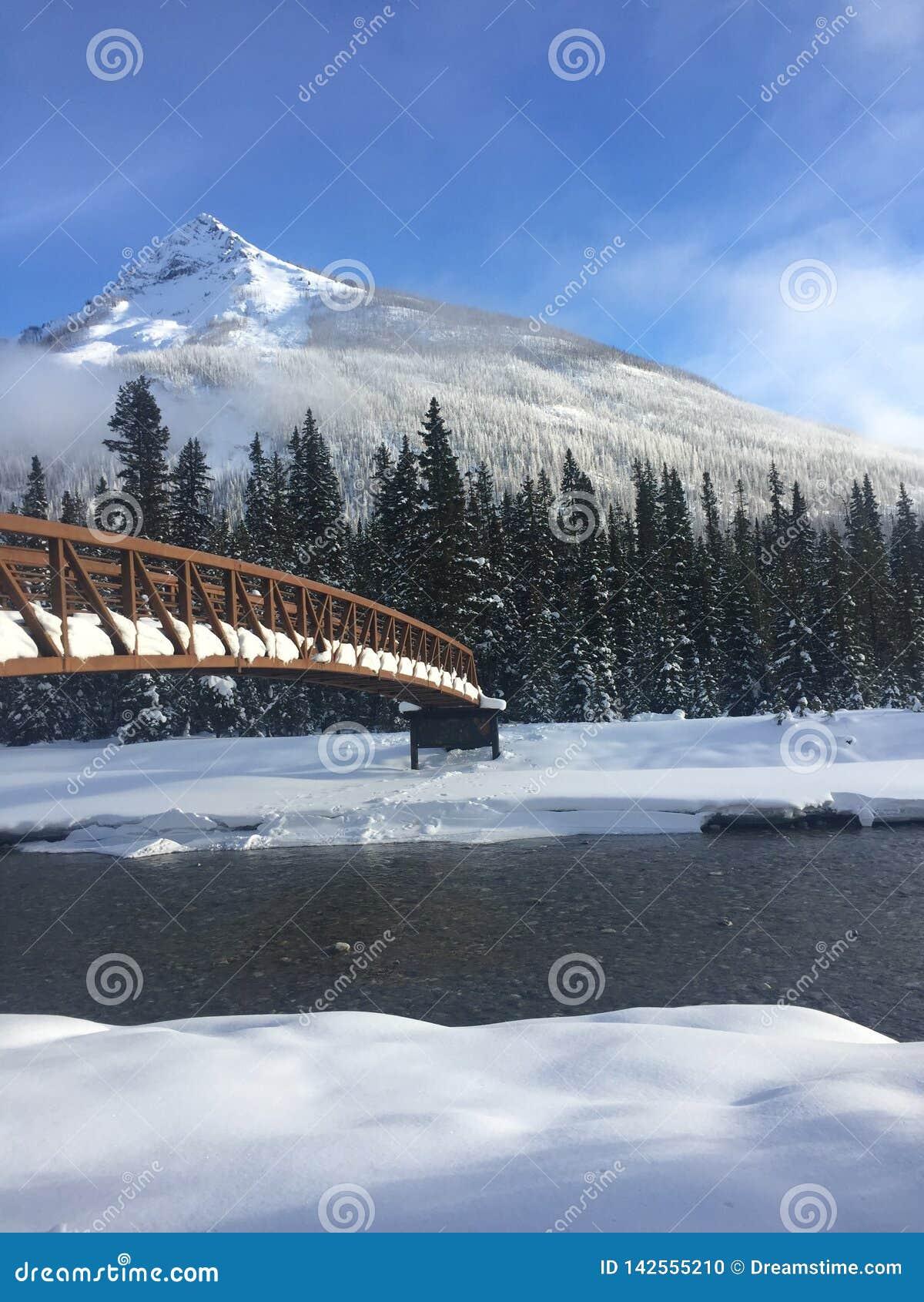 Most nad śnieżną rzeką