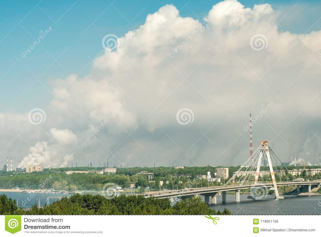 The most polluted city in Russia is Cherepovets. Smoke from the pipes smog clouds over the city. View from the height