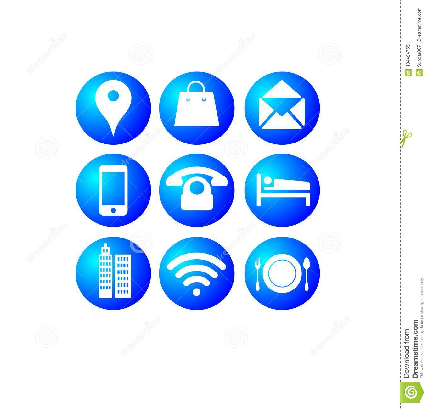 most 9 popular internet blue buttons icons stock vector
