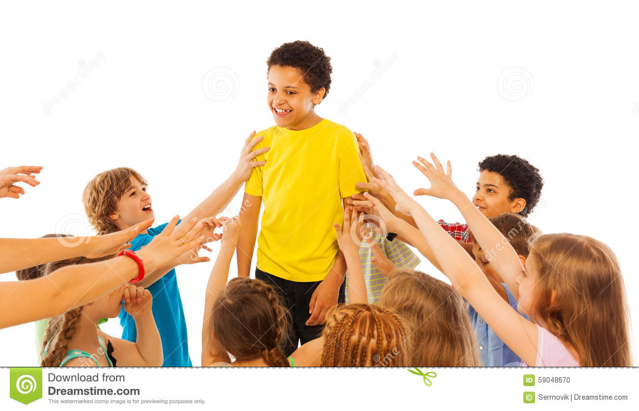 Http Www Dreamstime Com Stock Photo Most Popular Kid Class Kids Stretching Hands Circled Black Boy Who Very Image59048670