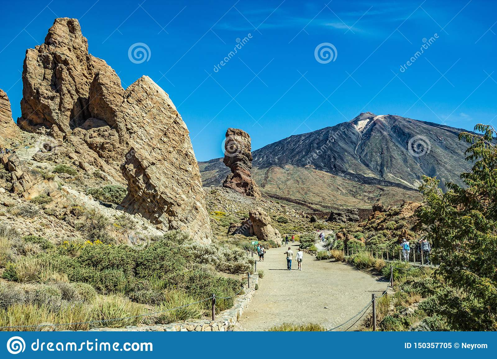 Most recognizable view of Mount Teide on Tenerife. Beautiful landscape in the national park on Tenerife with the famous rock,