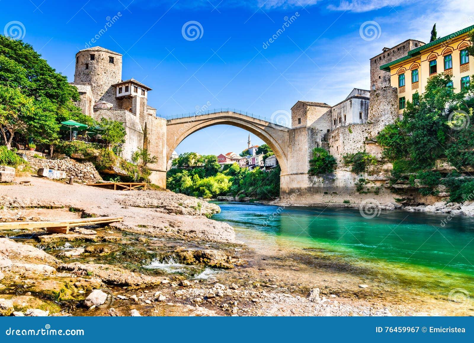 Mostar Bosnien och Hercegovina - Stari mest, gammal bro