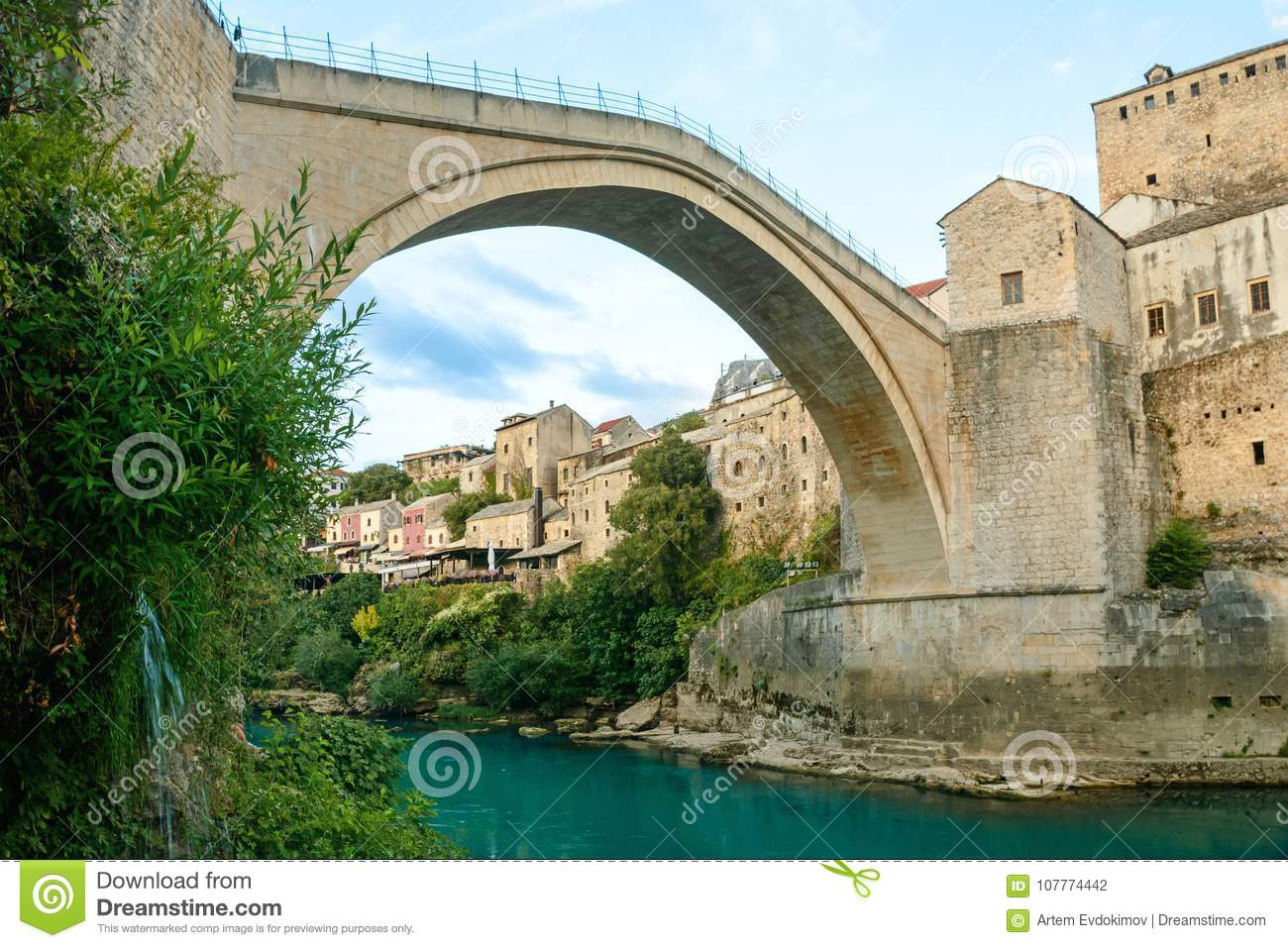 Mostar bridge with river in old town. Bosnia and Herzegovina