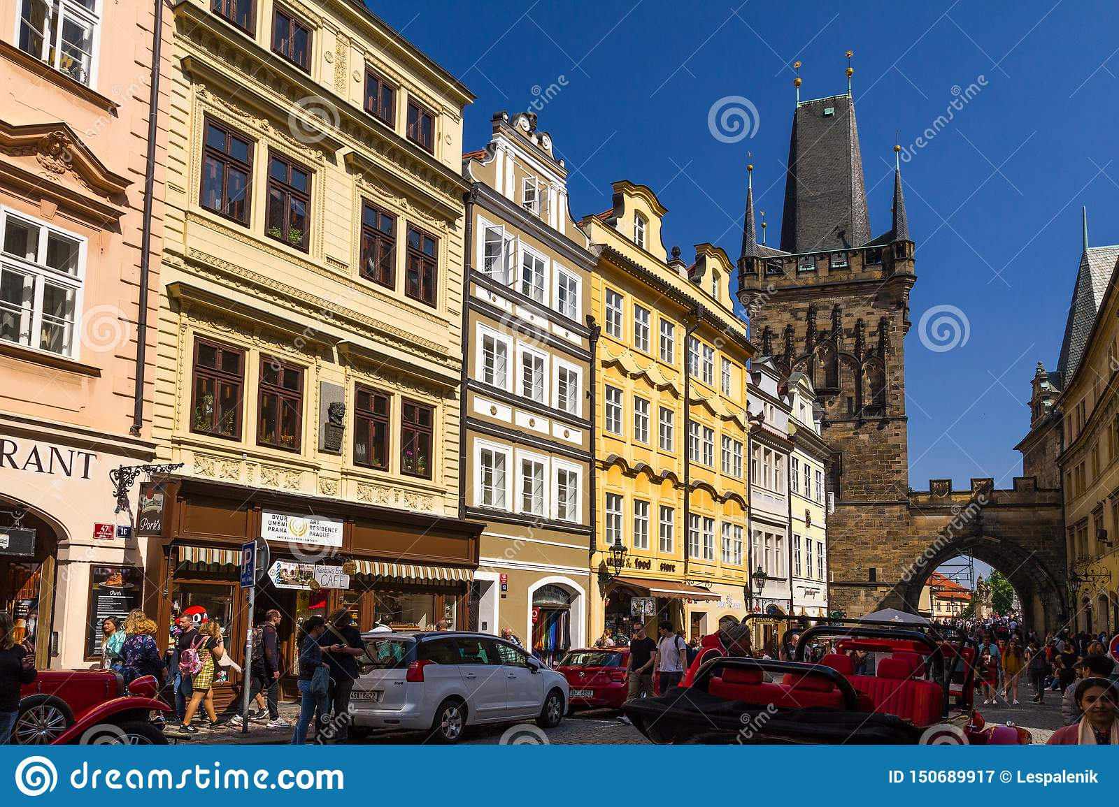 Bridge Street Stores >> Mostecka Street With View Of A Watch Tower At Charles Bridge