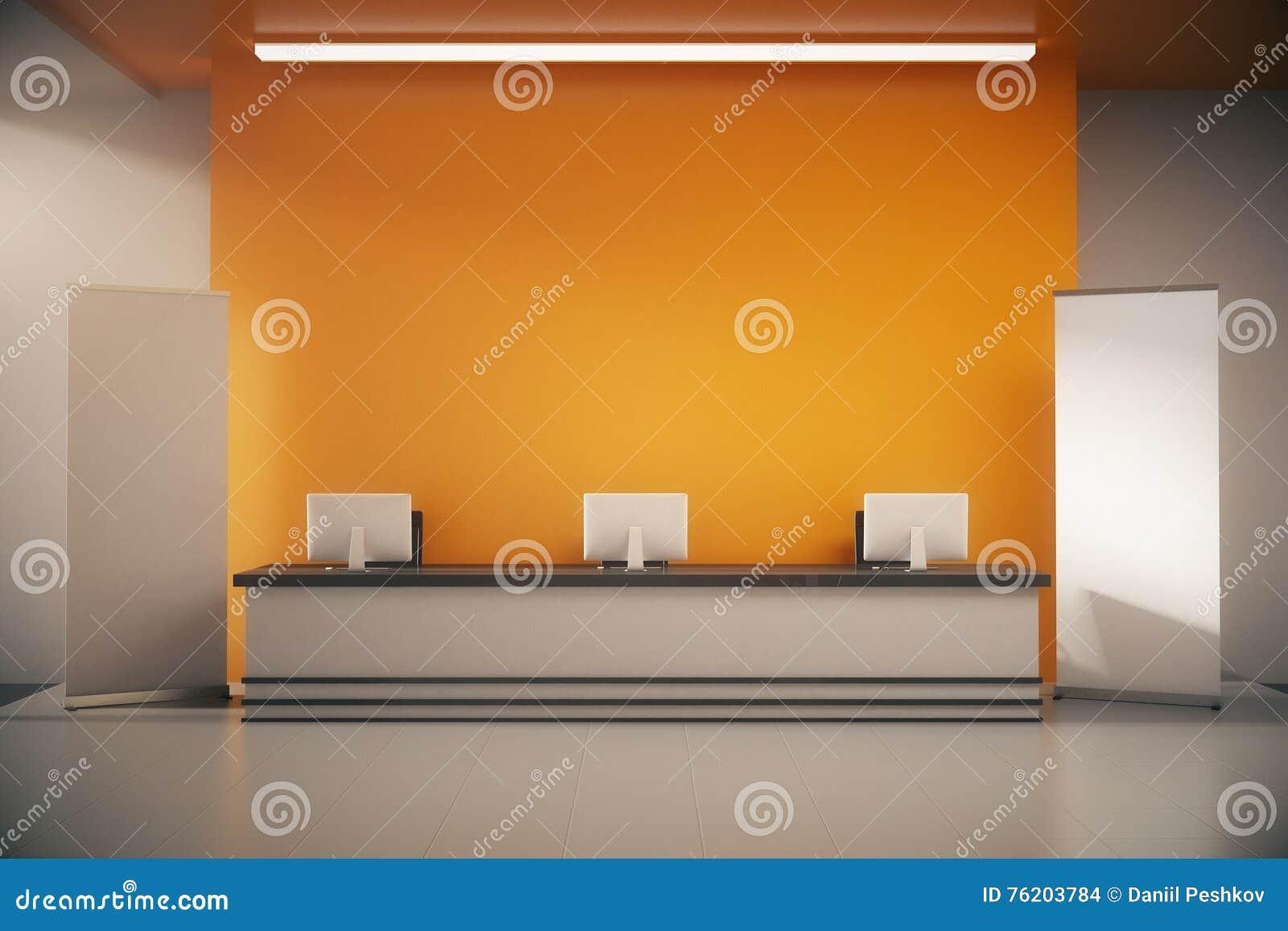 Mostrador de recepción anaranjado