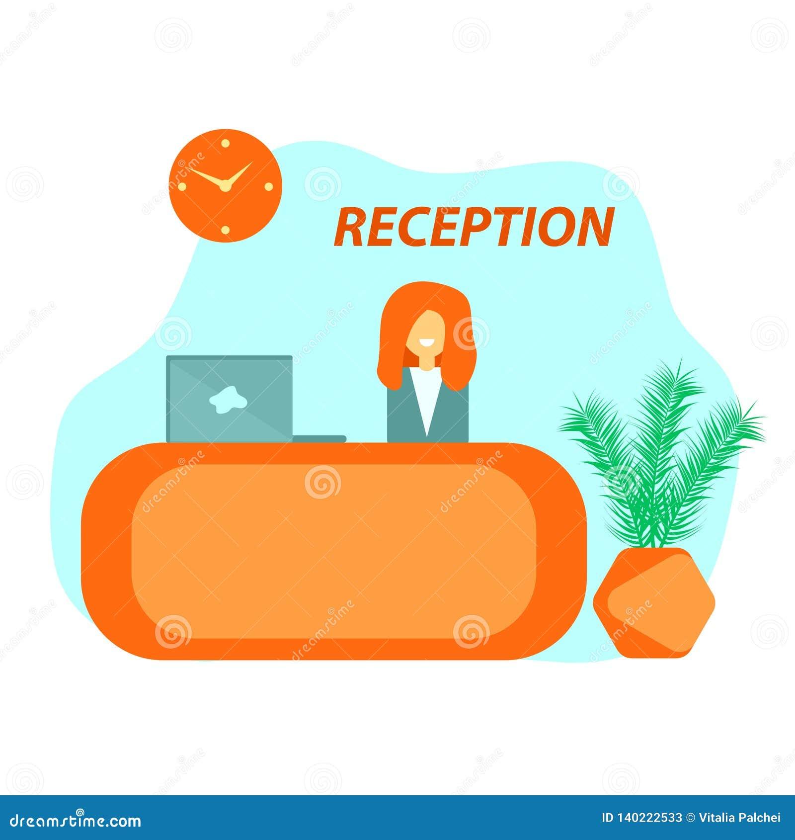 Mostrador de recepción anaranjado en hotel