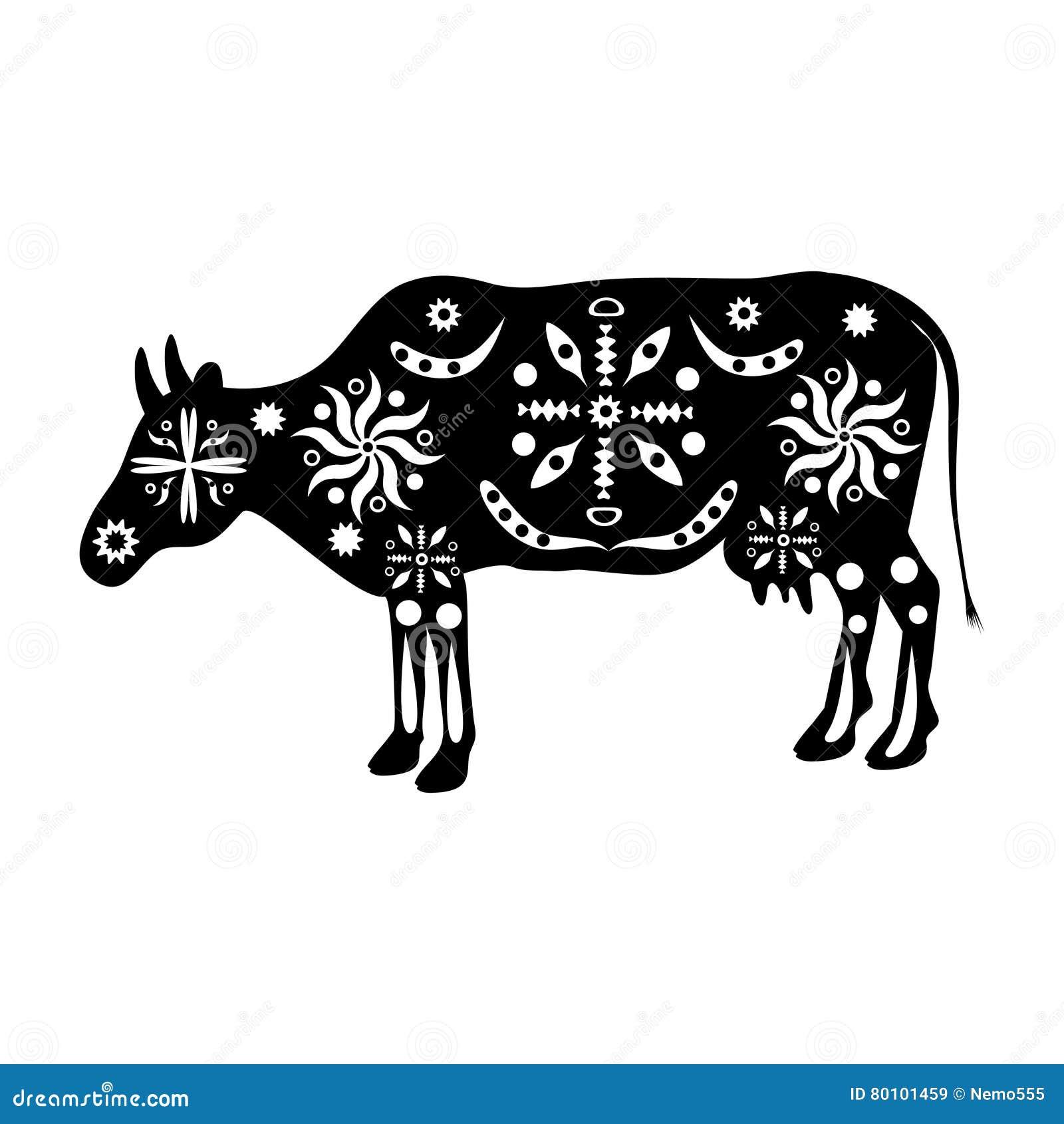 Mostre em silhueta povos antigos tradicionais do ornamento das vacas da Índia