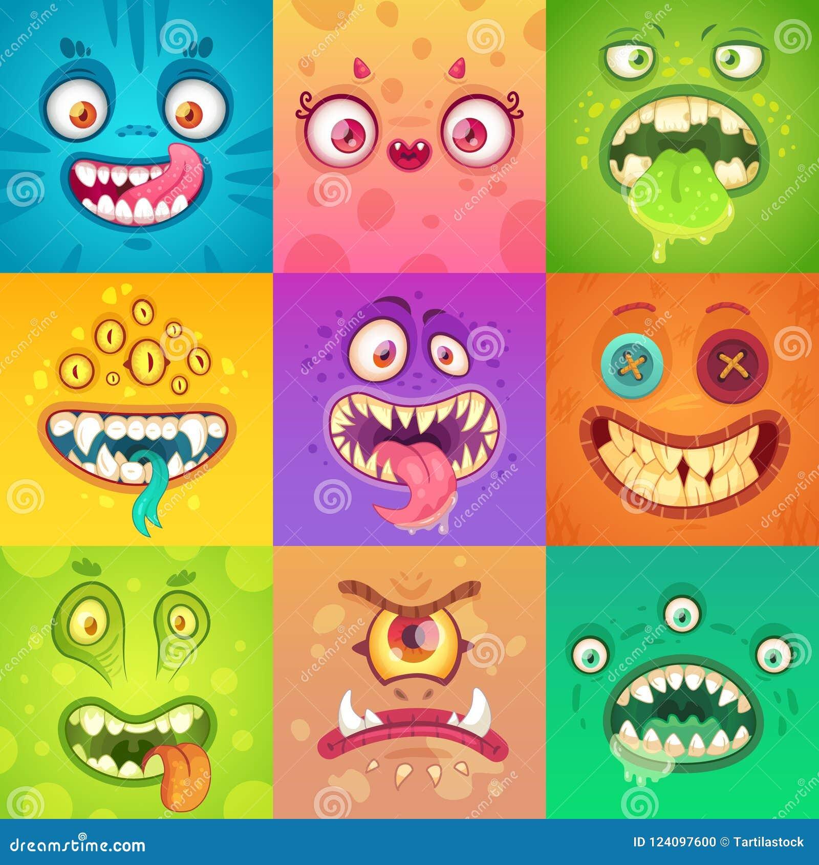 Mostri divertenti di Halloween Fronte sveglio e spaventoso del mostro con gli occhi e la bocca Vettore sconosciuto del carattere