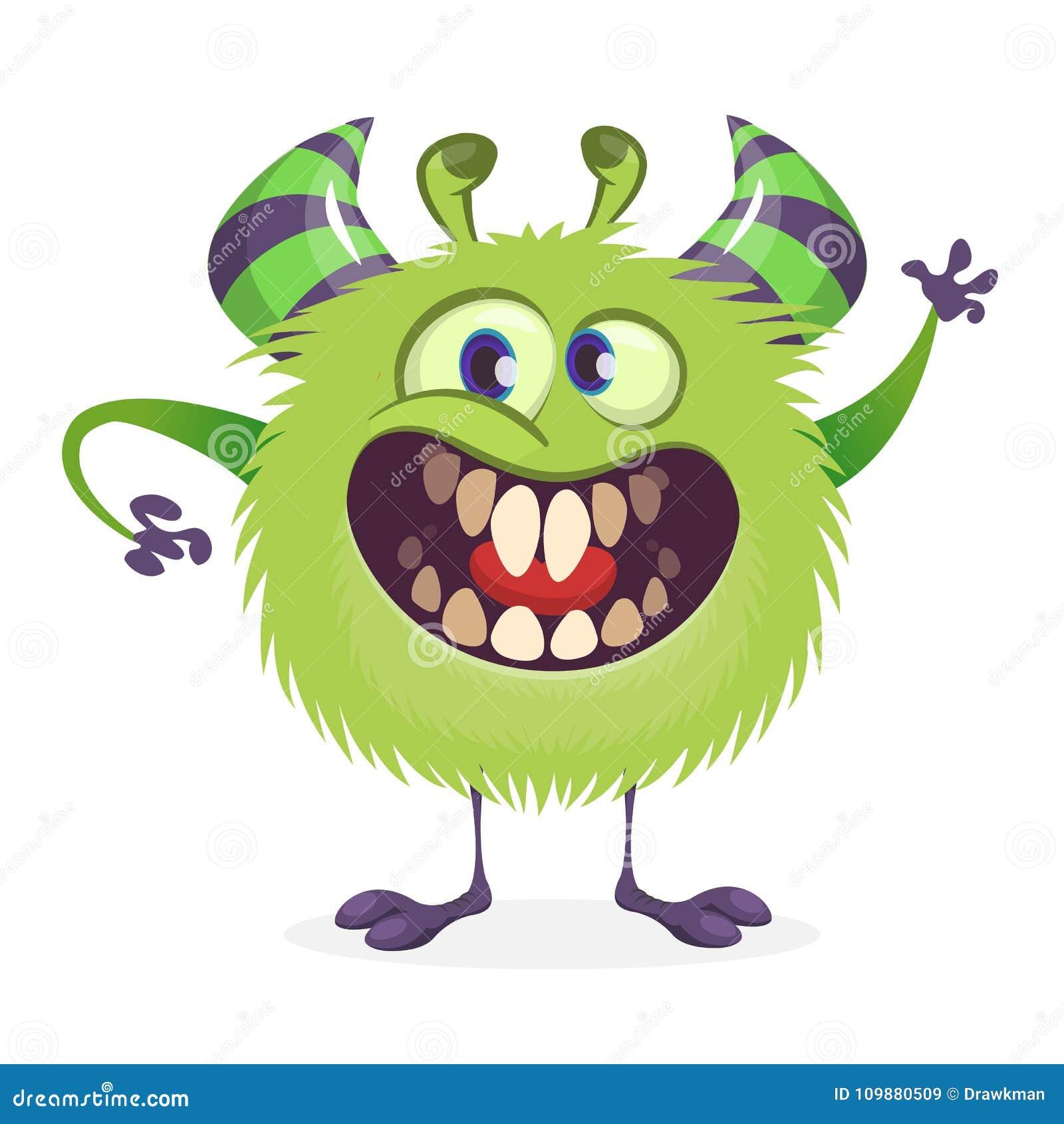 Mostro arrabbiato di verde del fumetto Illustrazione di vettore del carattere del mostro per Halloween