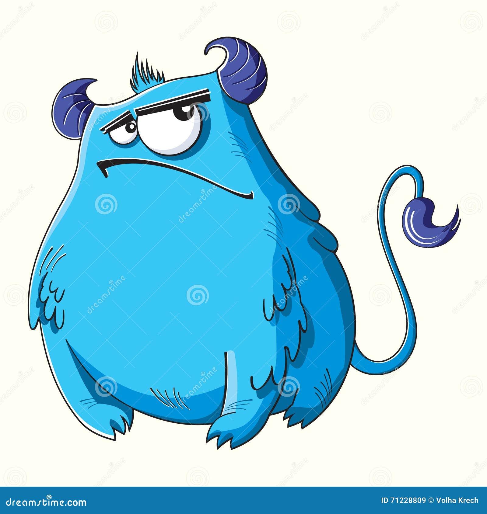 Mostro blu lanuginoso del fumetto divertente