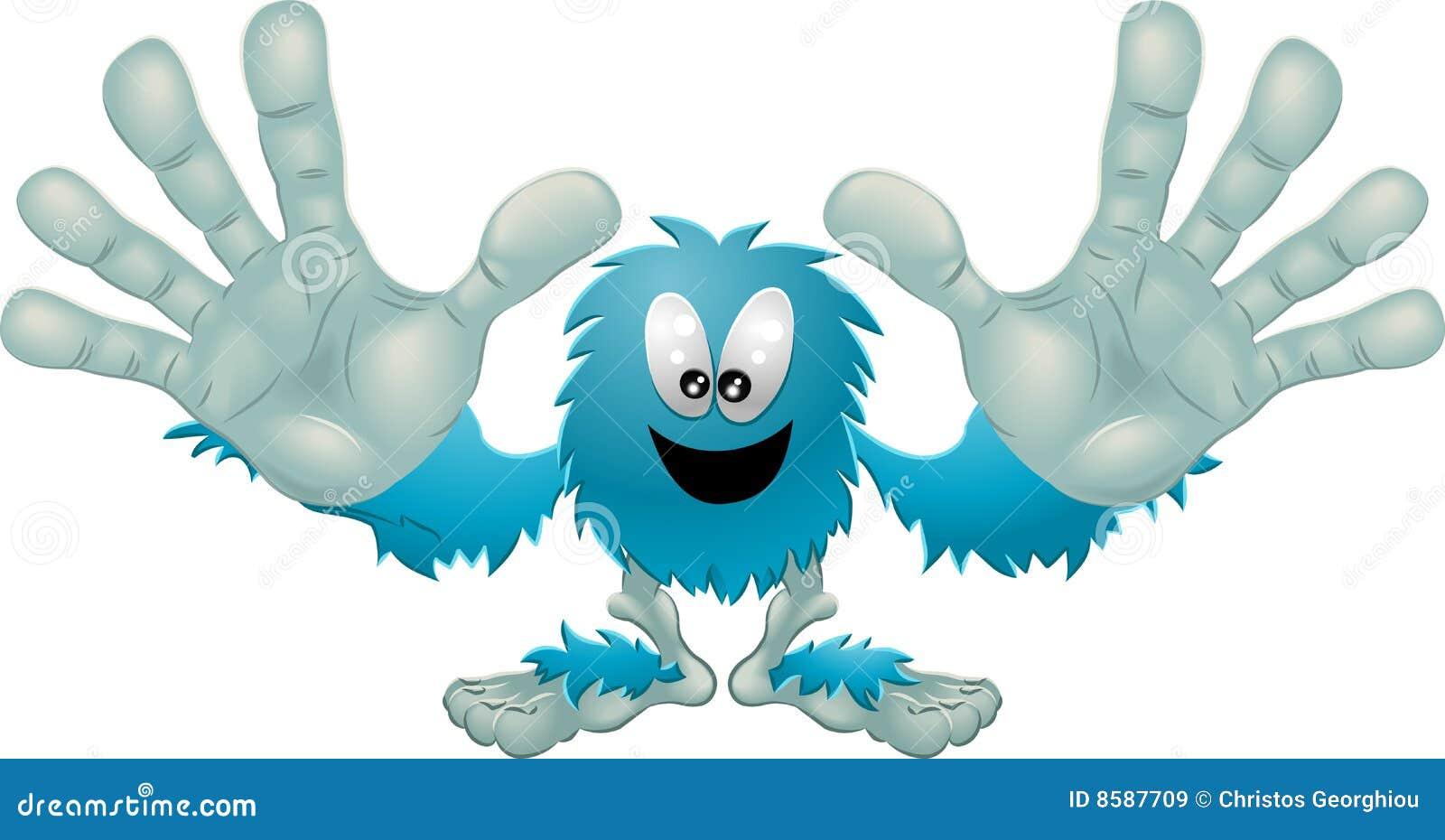 Mostro blu simile a pelliccia amichevole sveglio