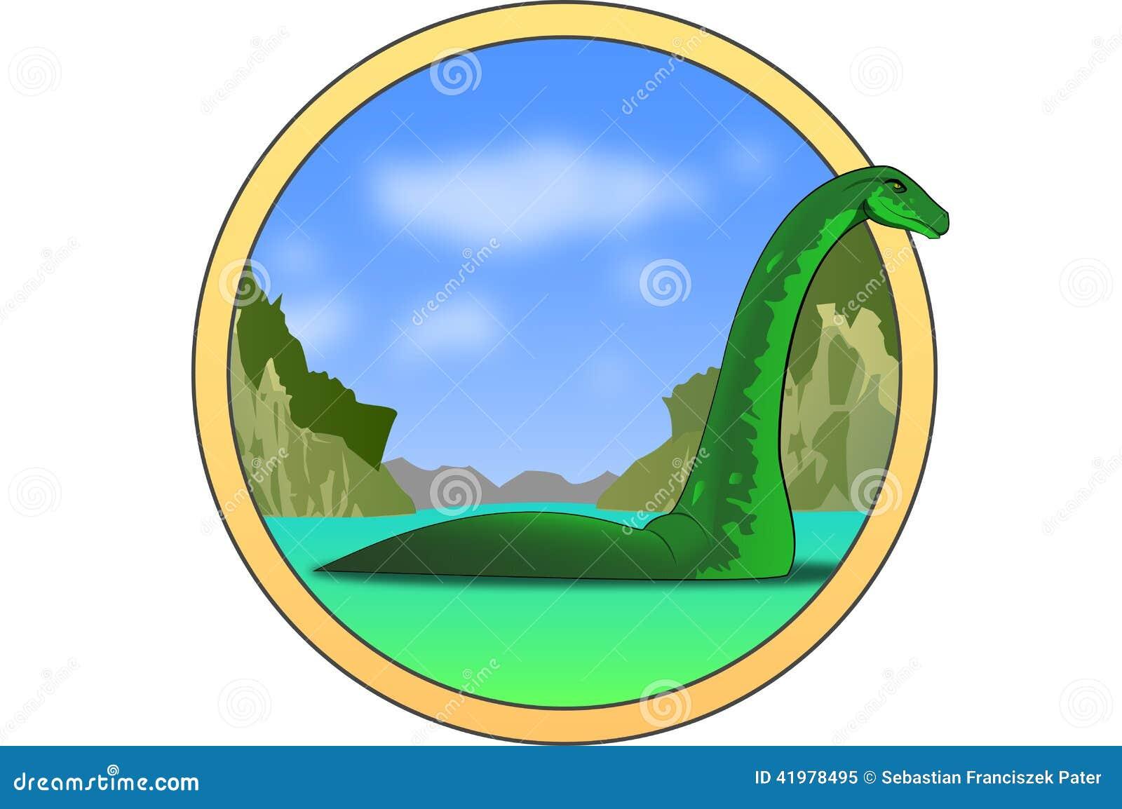 Illustrazione di Nessy - lago Ness Monster.