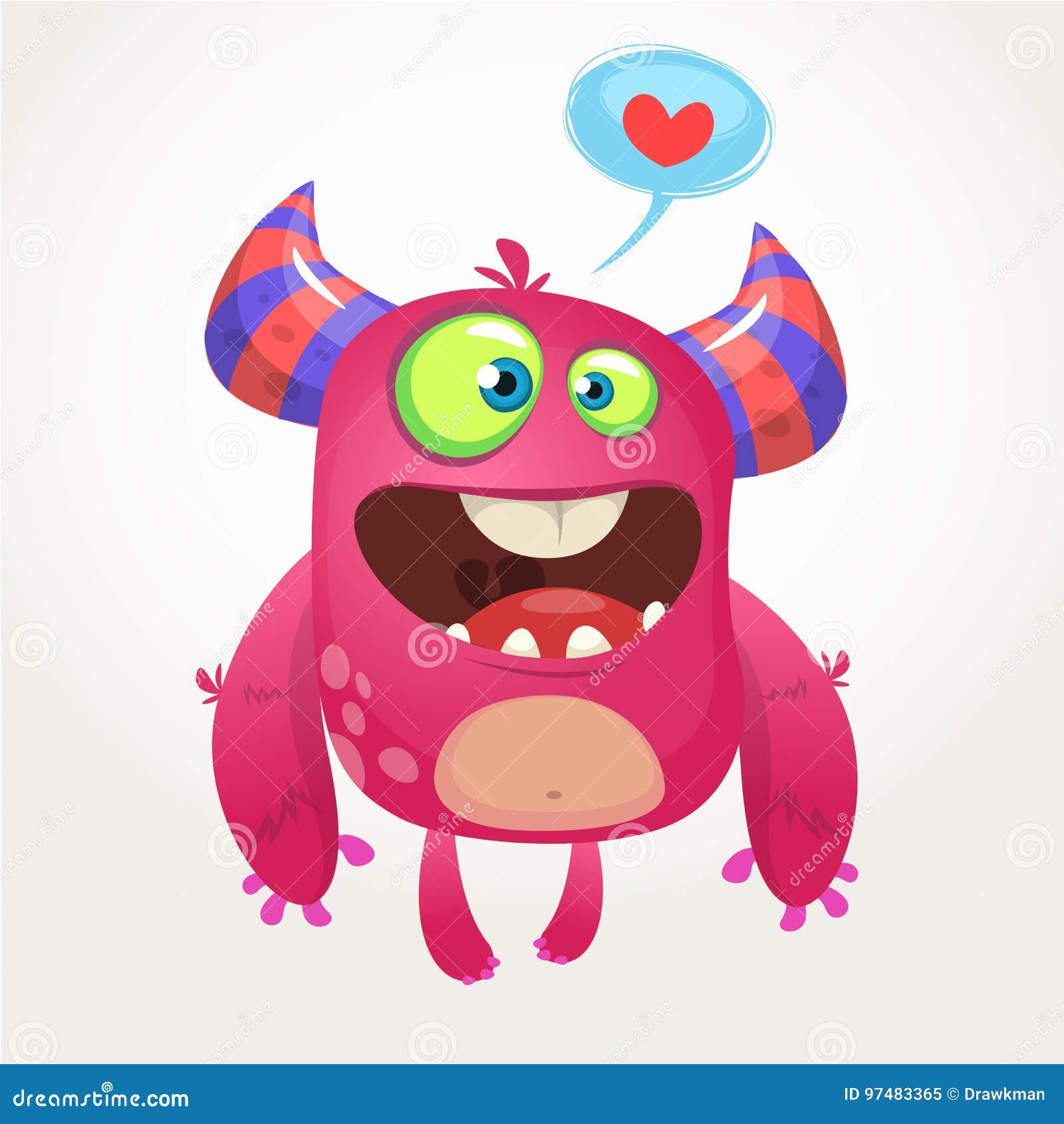 Mostro fresco rosa del fumetto nell amore Illustrazione di vettore dei biglietti di S. Valentino della st del mostro amoroso
