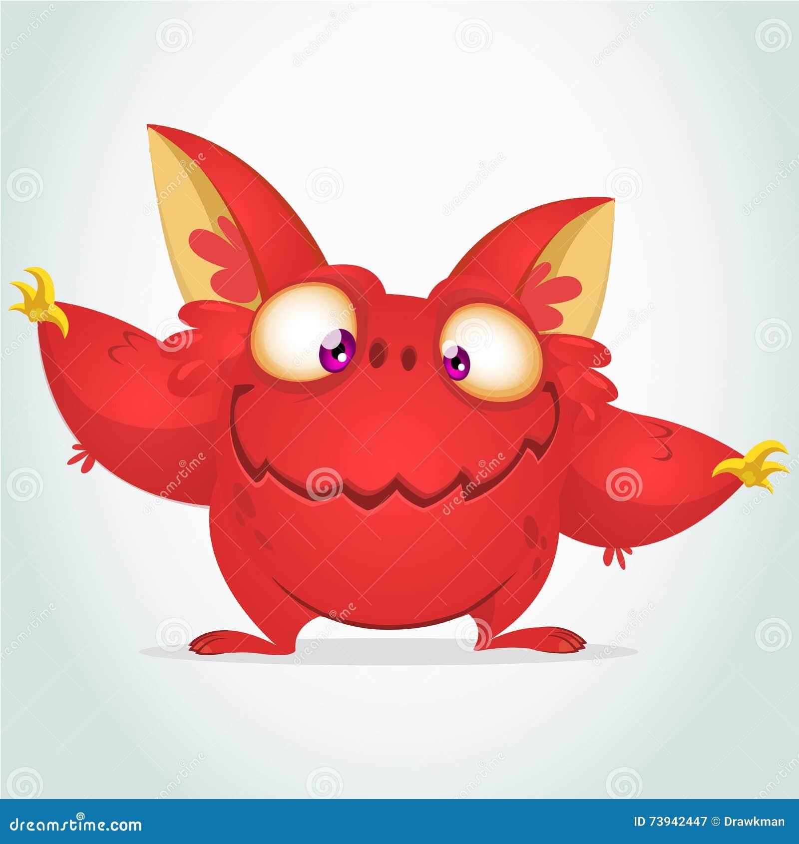 Mostro rosso del fumetto di vettore con le grandi orecchie Mostro rosso lanuginoso di Halloween che ondeggia le sue mani