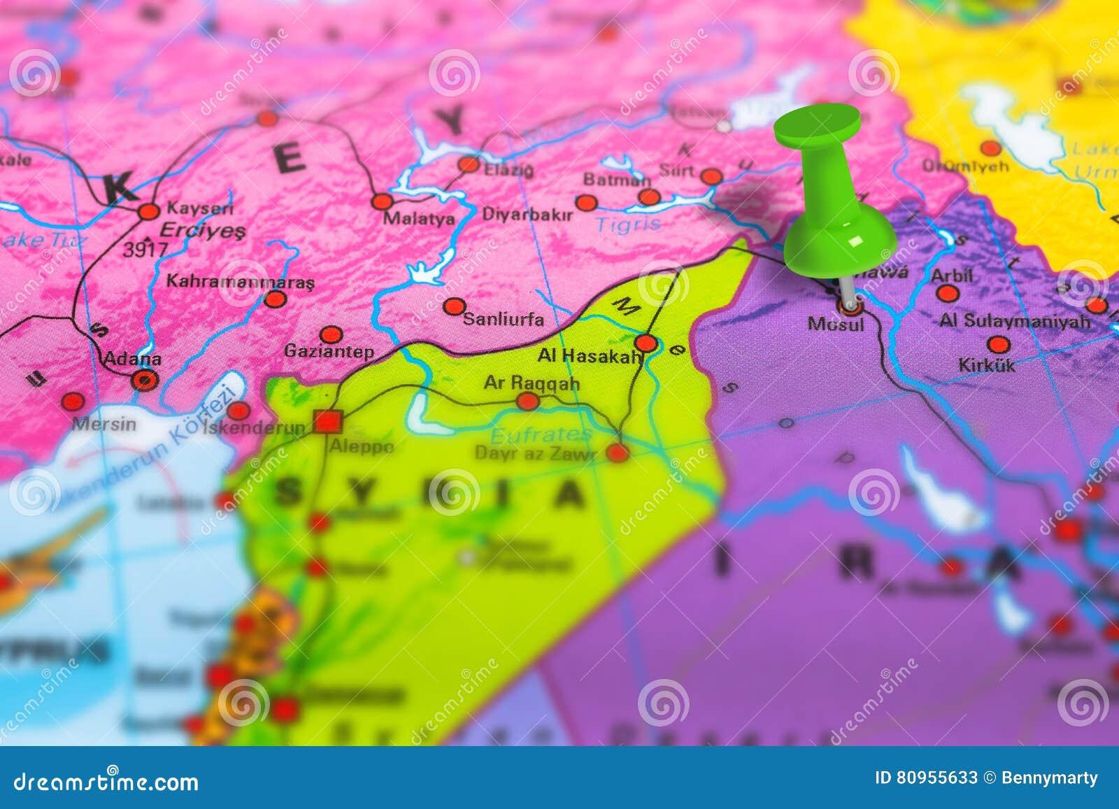 Mosul Iraq map stock image  Image of macro, culture