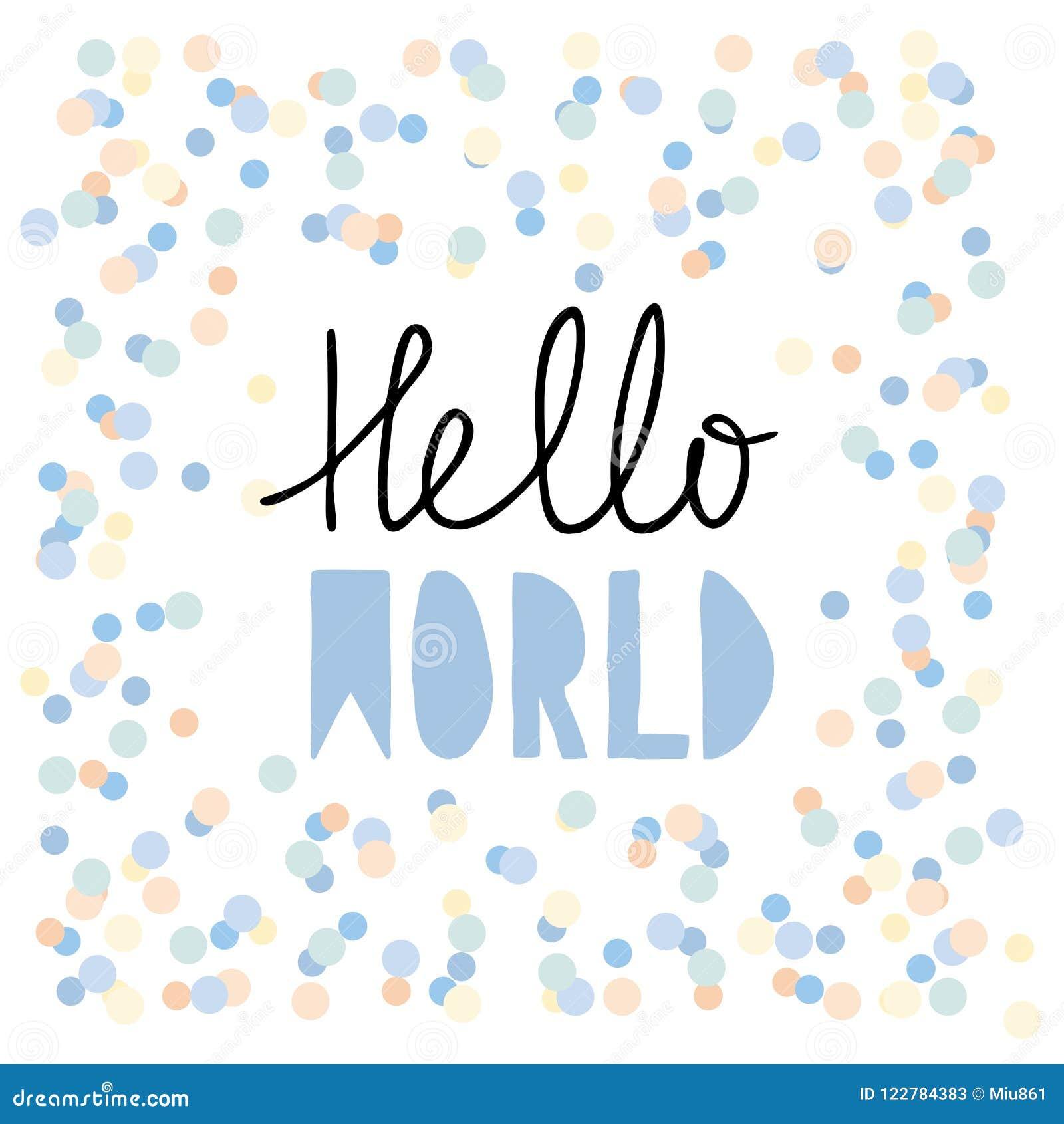 Mot bakgrund isolerade härliga hälsningar den plattform vita kvinnavärlden Baby showervektorillustration Skriftliga bokstäver för