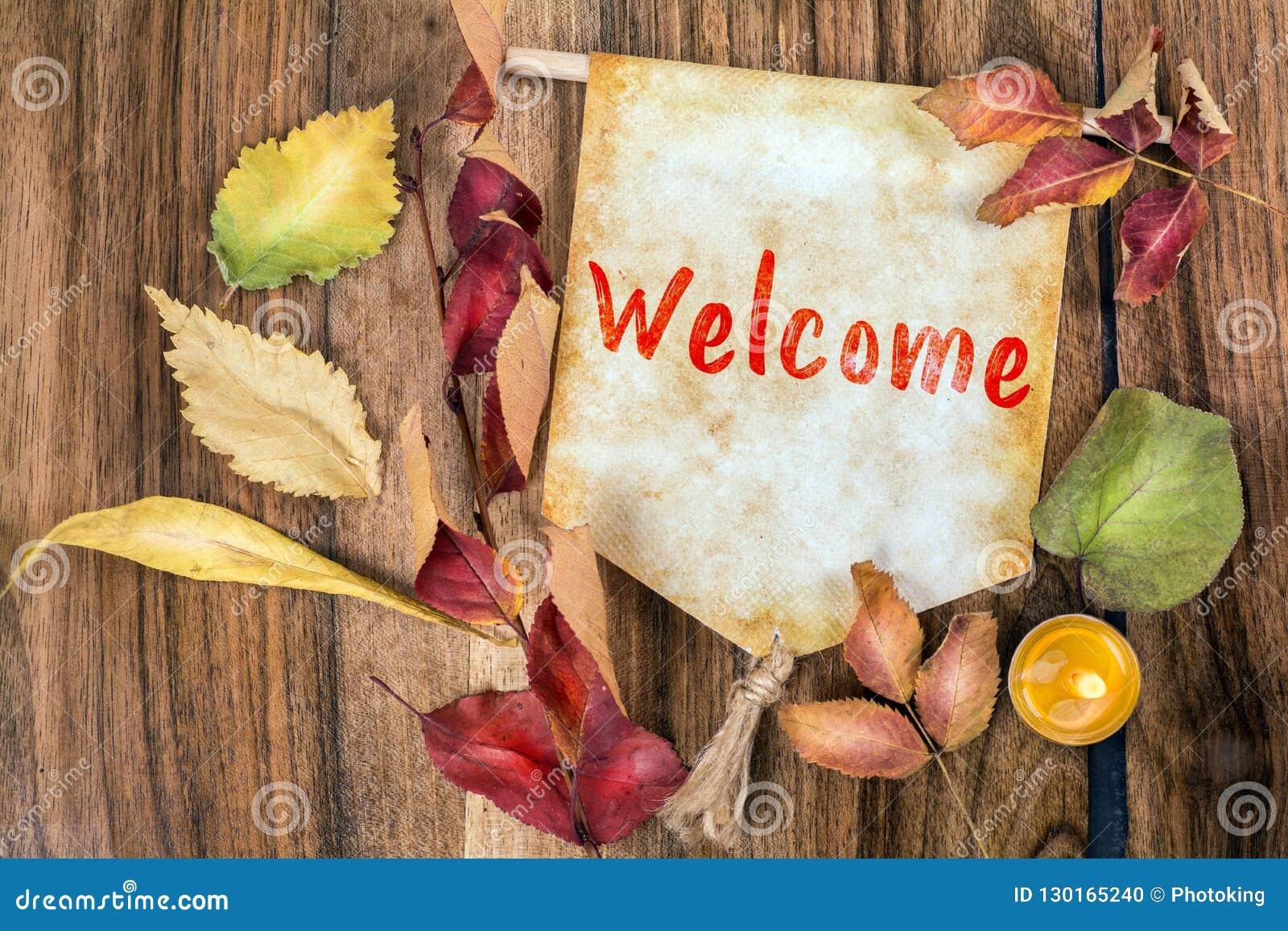 Mot bienvenu avec le thème d automne