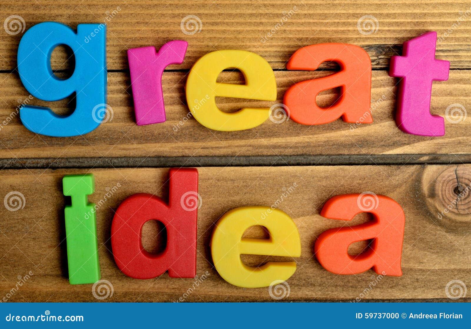 Mot coloré de grande idée