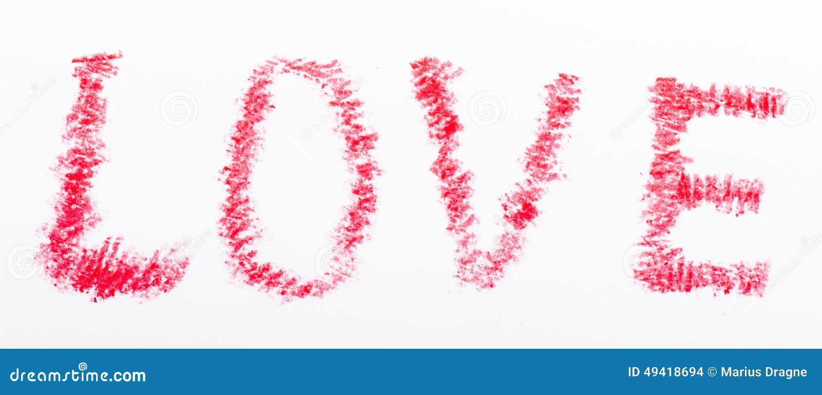 Mot d 39 amour dessin par crayon avec la couleur rouge photo - Desin d amour ...