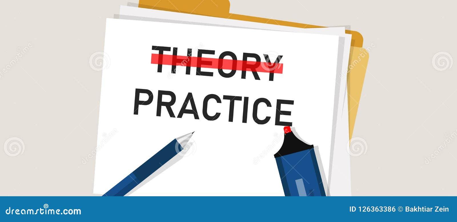 Mot de concept de pratique en matière de théorie en papier avec le marqueur rouge dessus L illustration de l exécution d exécutio