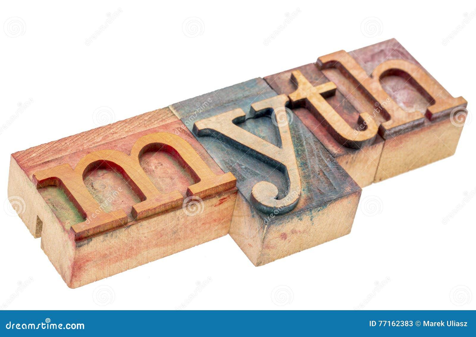 Mot de mythe dans le type en bois d impression typographique