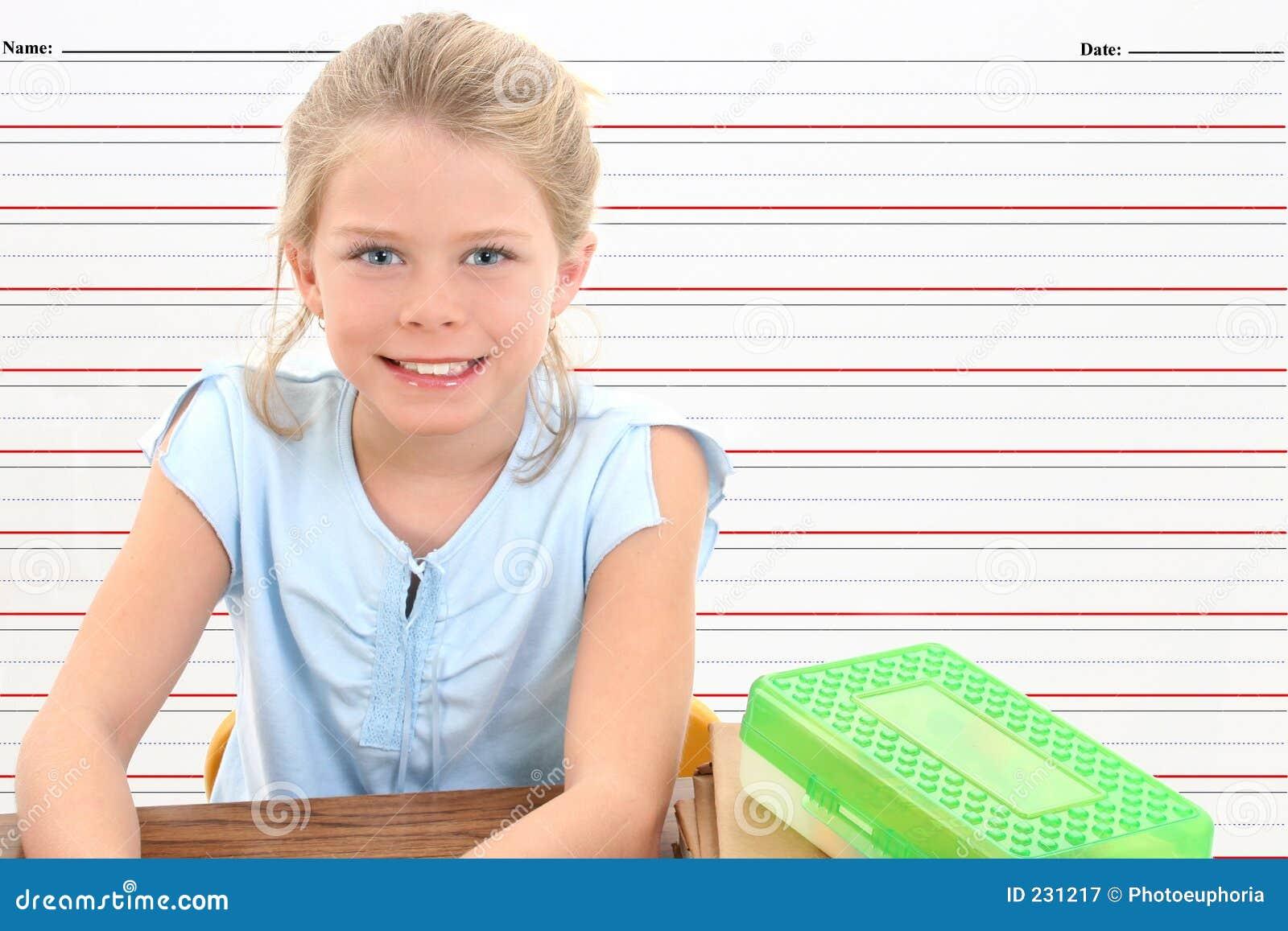 Mot linjen skolawriting för bakgrundsskrivbordflicka