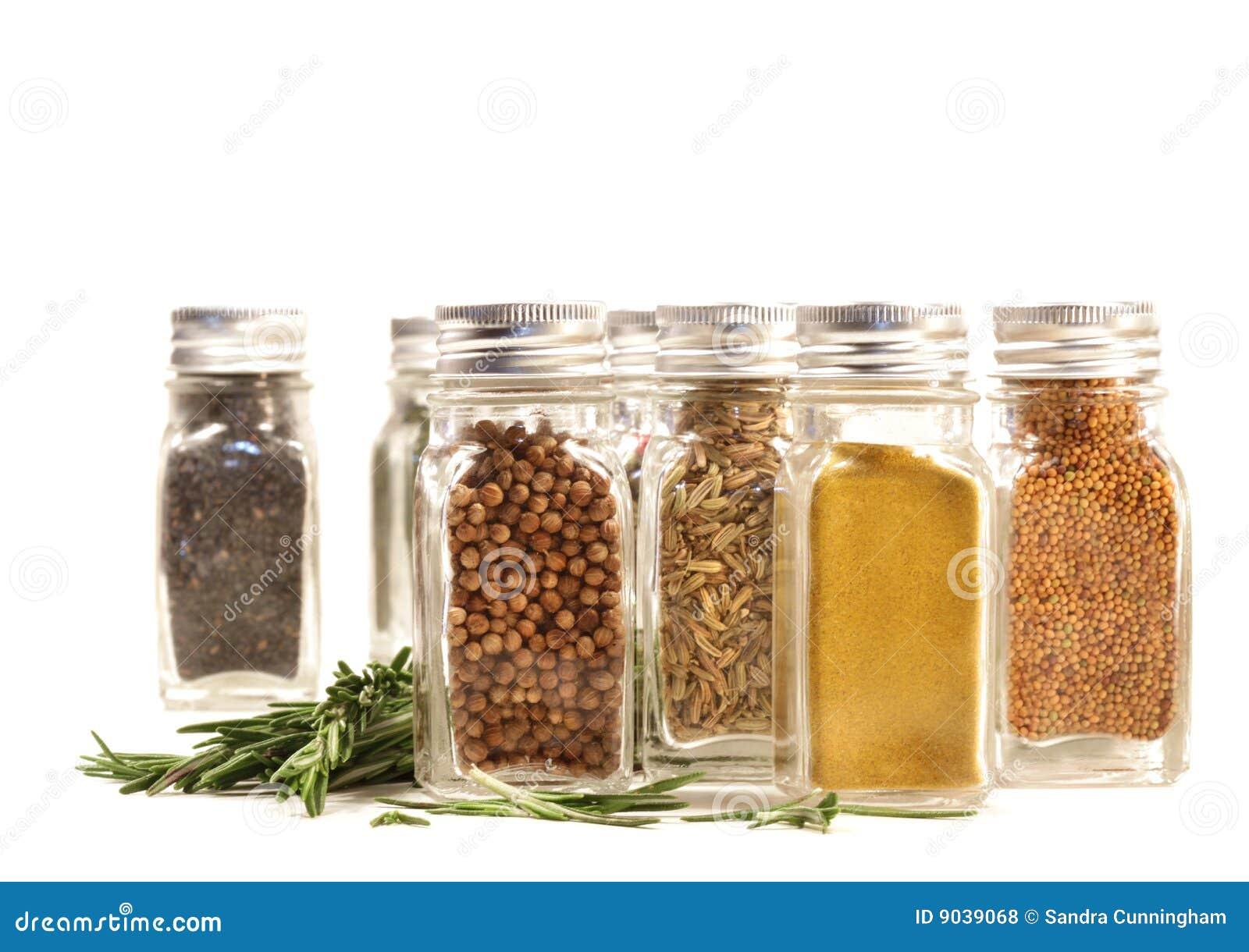 Mot nya jarsleaves kryddar rosmarinar white