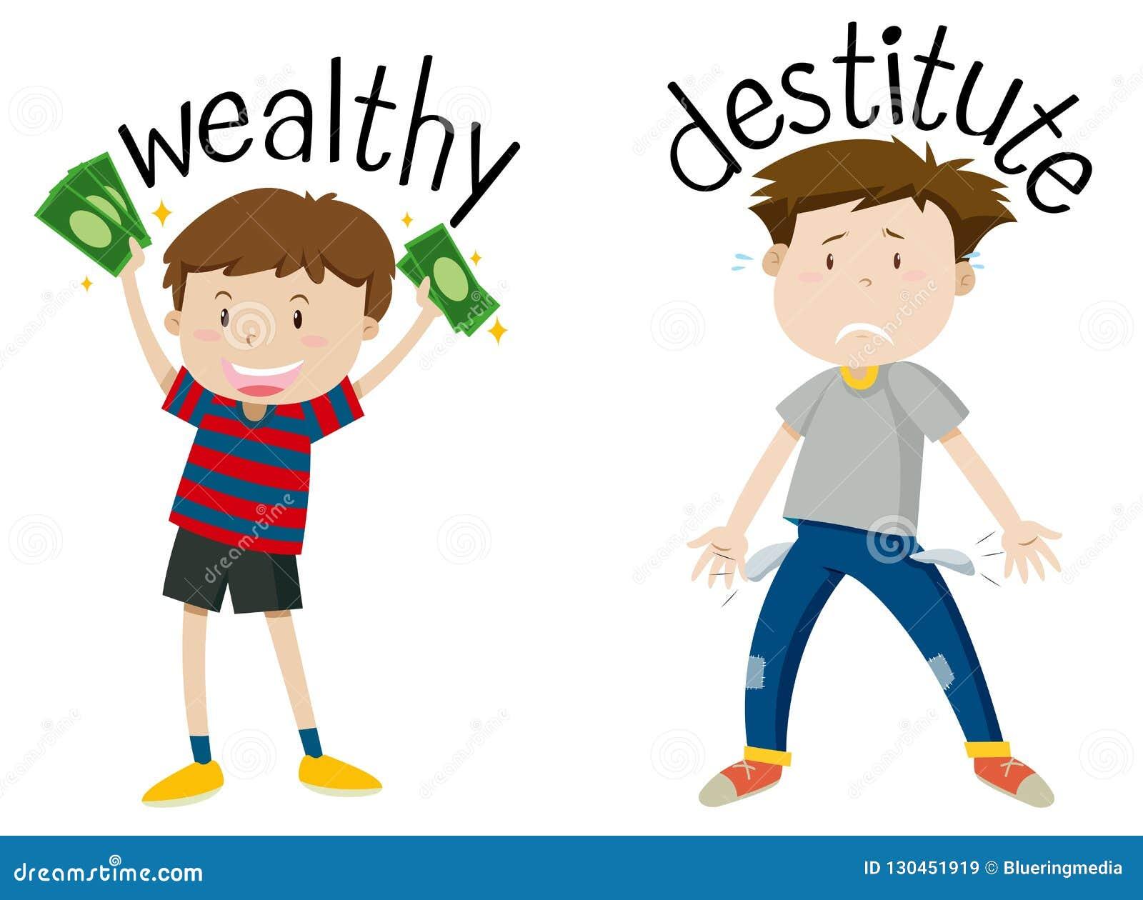 Mot opposé anglais de riche et d indigent