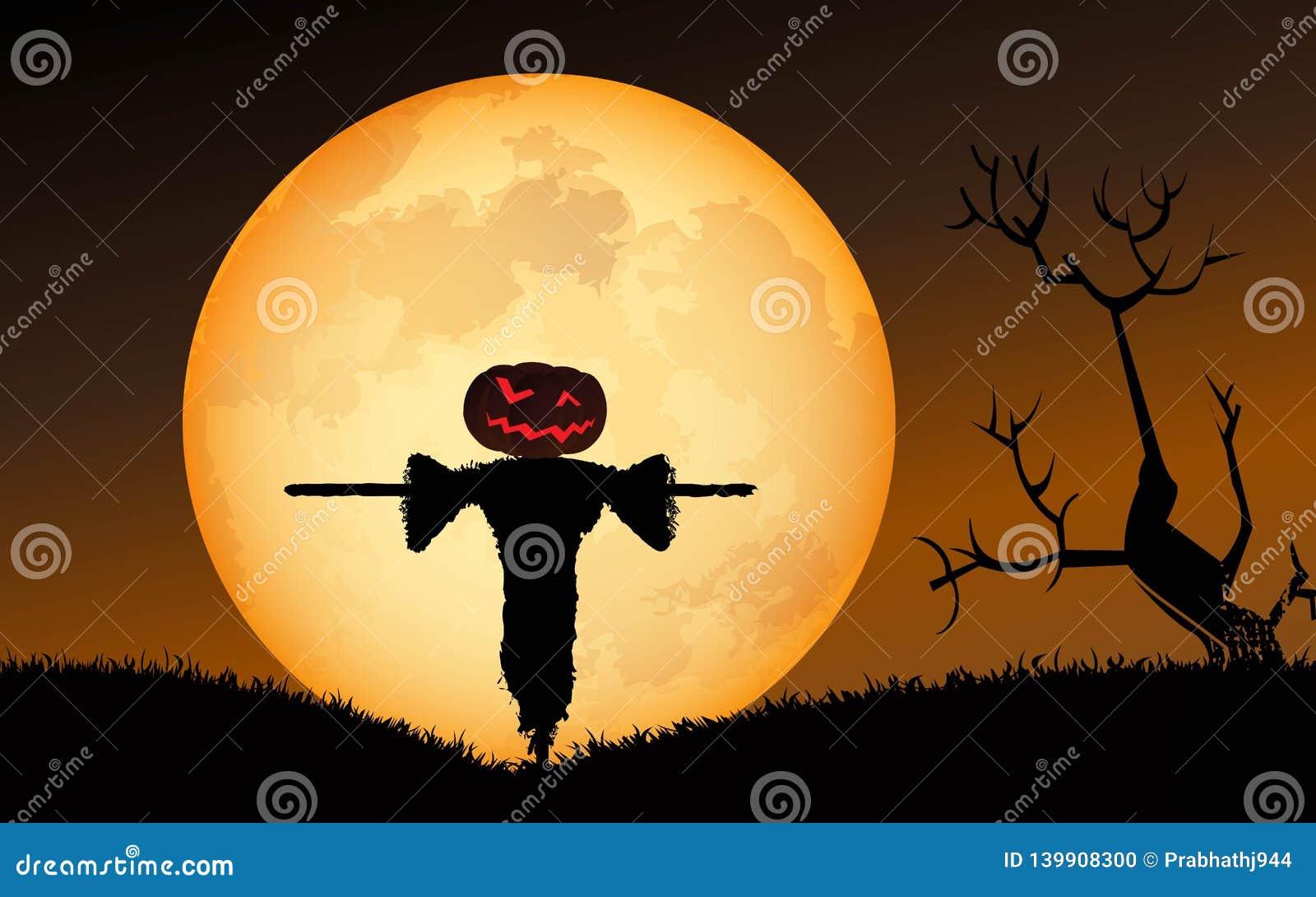Mot slagträn spökade fulla halloween plats för husmoonpumpa