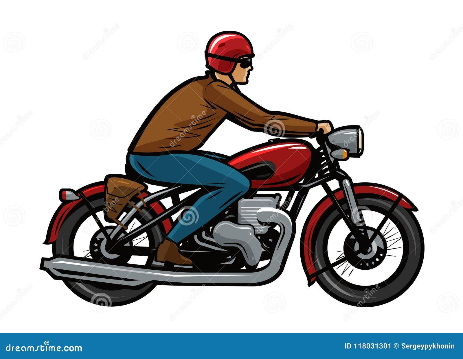 Dessin De Motard motard montant une moto illustration de vecteur de dessin animé
