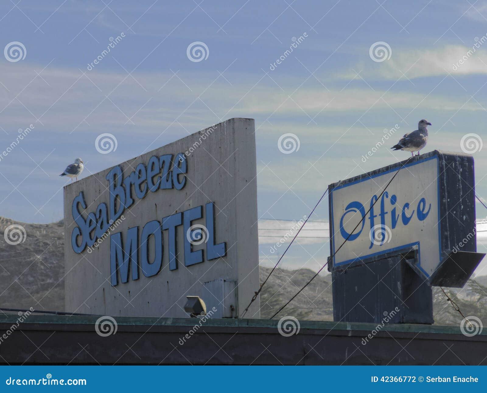 Motel de California con las gaviotas en el tejado