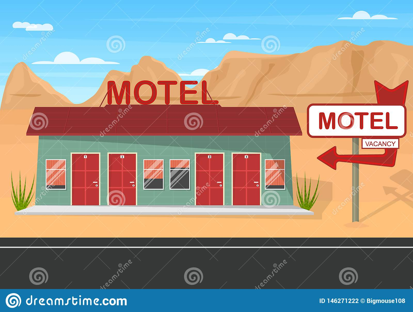 Motel del borde de la carretera de la historieta en un fondo del paisaje Vector