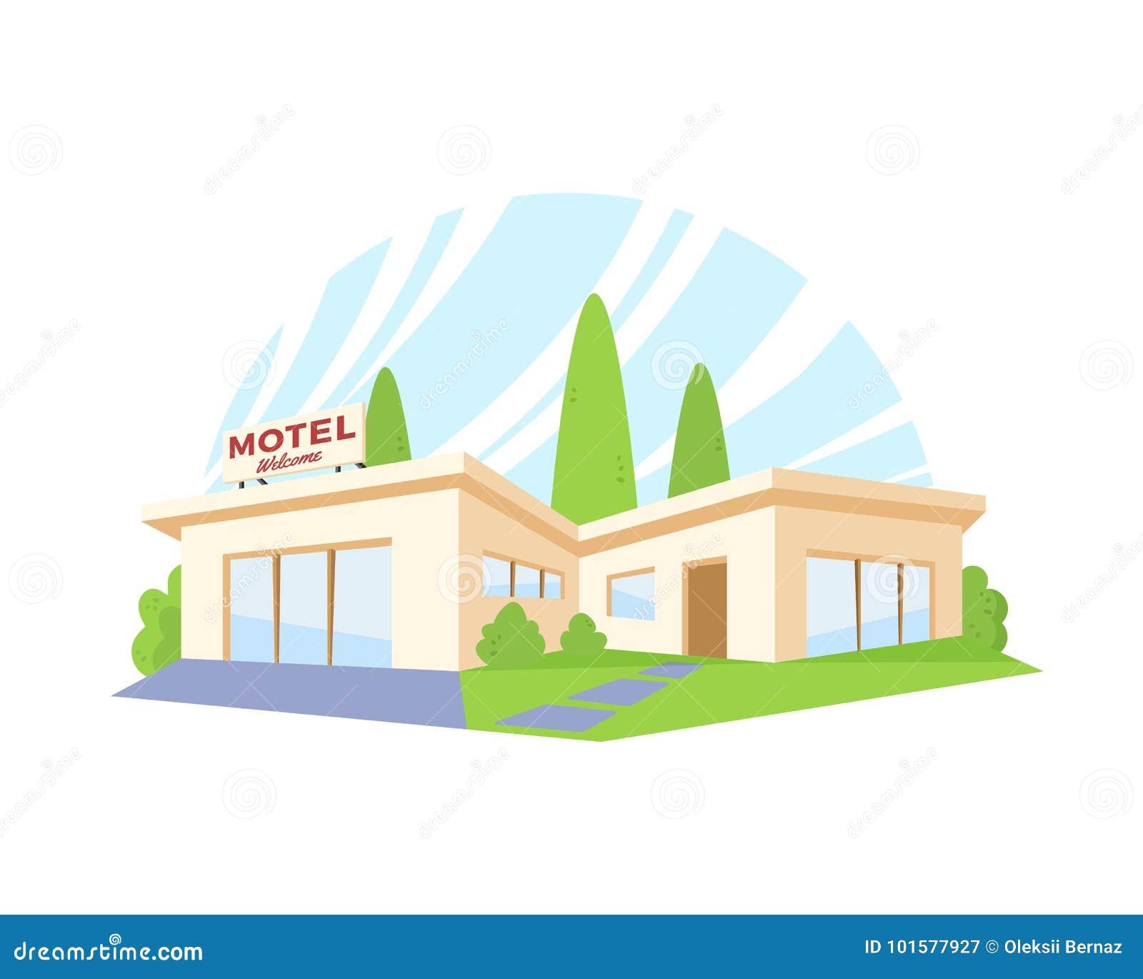 Motel moderno de la arquitectura del estilo plano con el césped y los árboles verdes Dibujo del vector en la opinión de perspecti