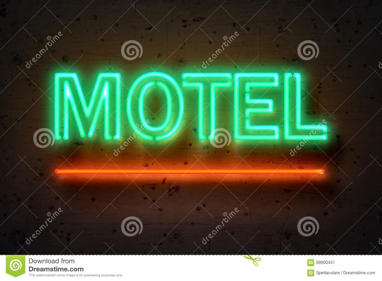 Motel, neon sign on concrete wall