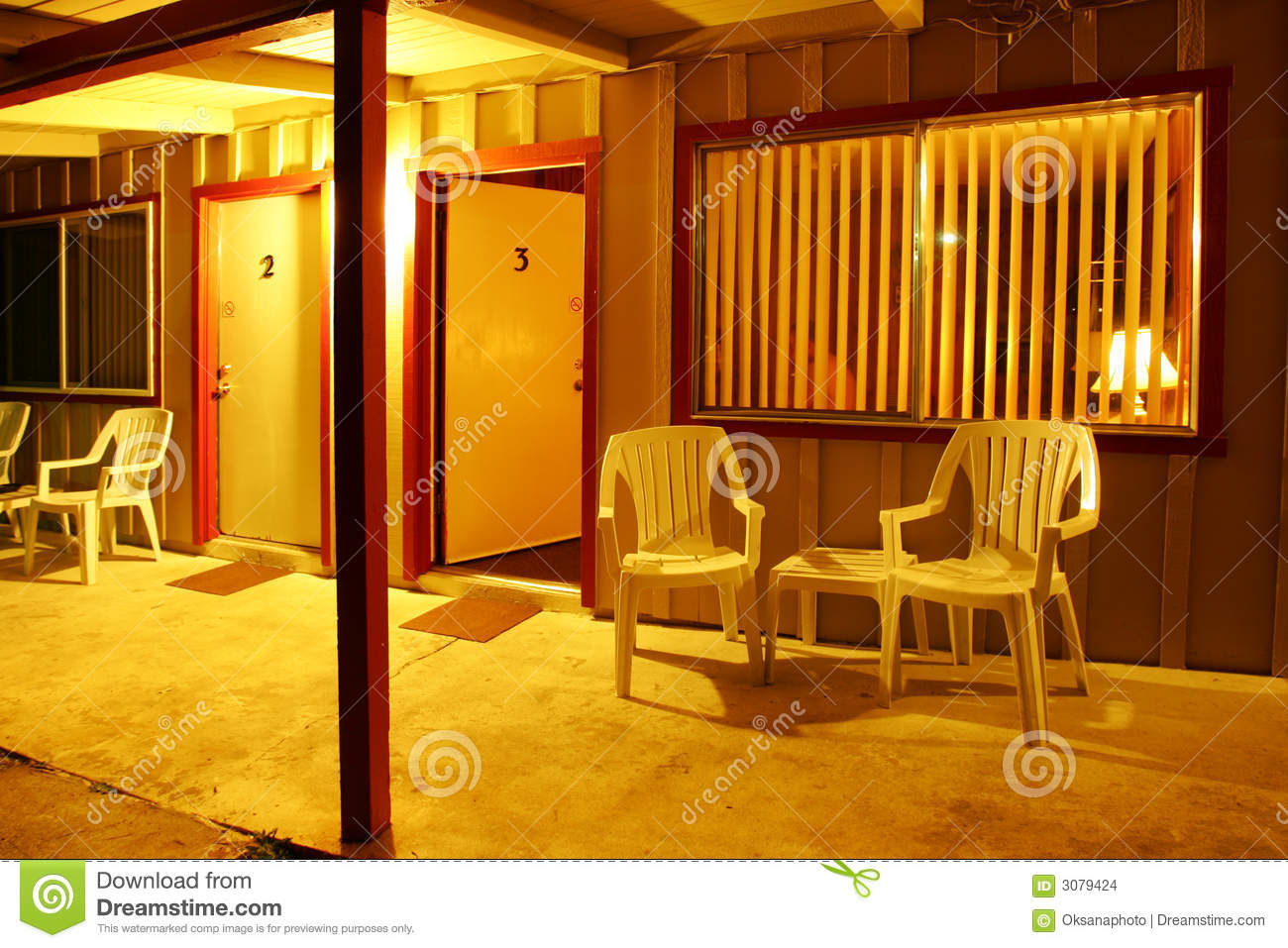 Motel Porch Plastic Chairs Stock Images Image 3079424